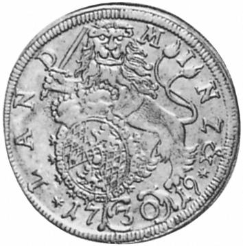 1715-1719 German States BAVARIA 30 Kreuzer, 1/2 Gulden reverse