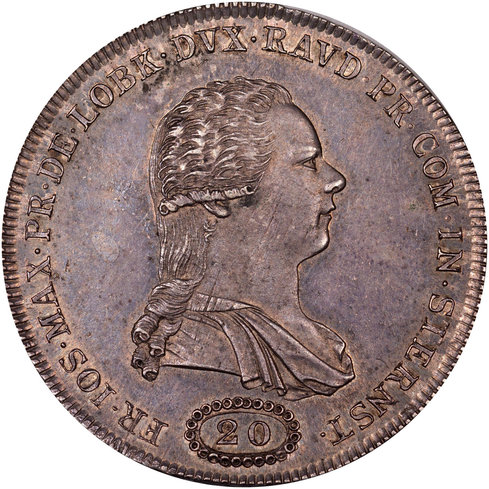 1794 Bohemia LOBKOWITZ-STERNSTEIN 20 Kreuzer obverse