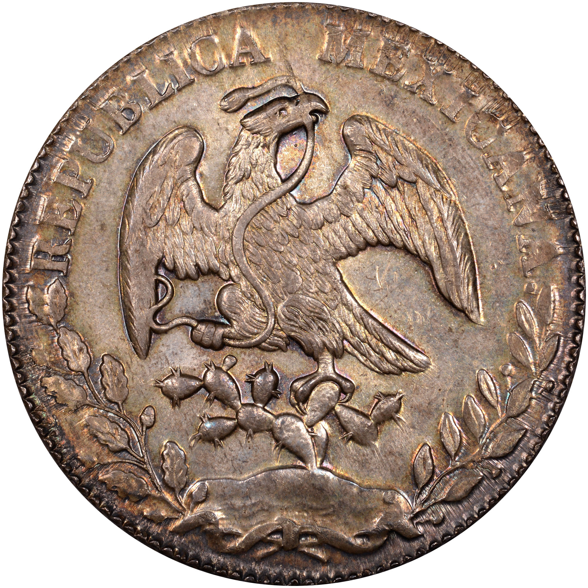 1824-1897 Mexico 8 Reales obverse