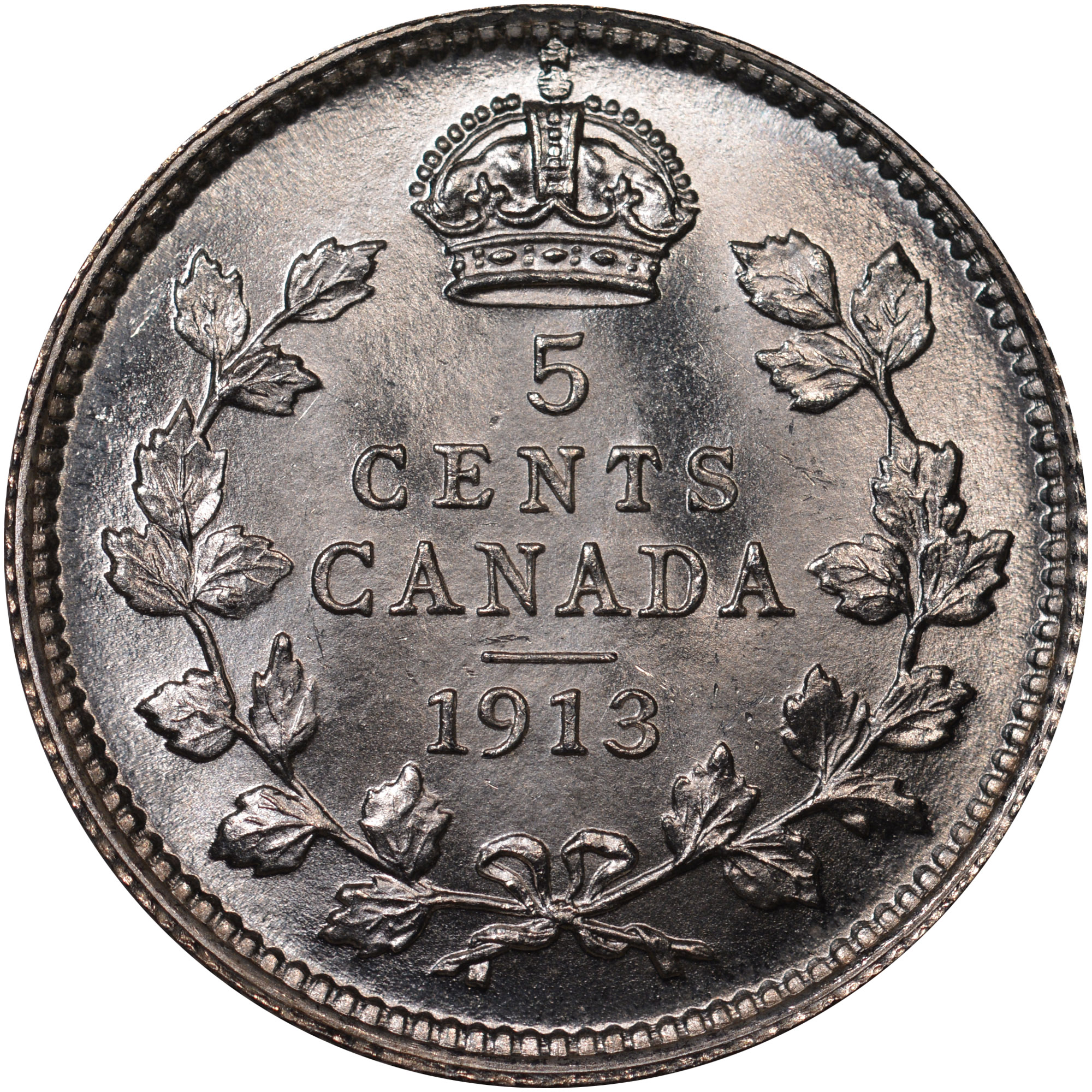 1912-1919 Canada 5 Cents reverse