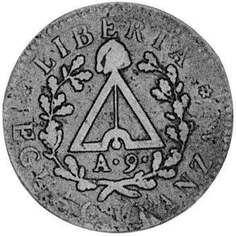 A(nno)9 (1800) Italian States PIEDMONT REPUBLIC Due (2) Soldi reverse