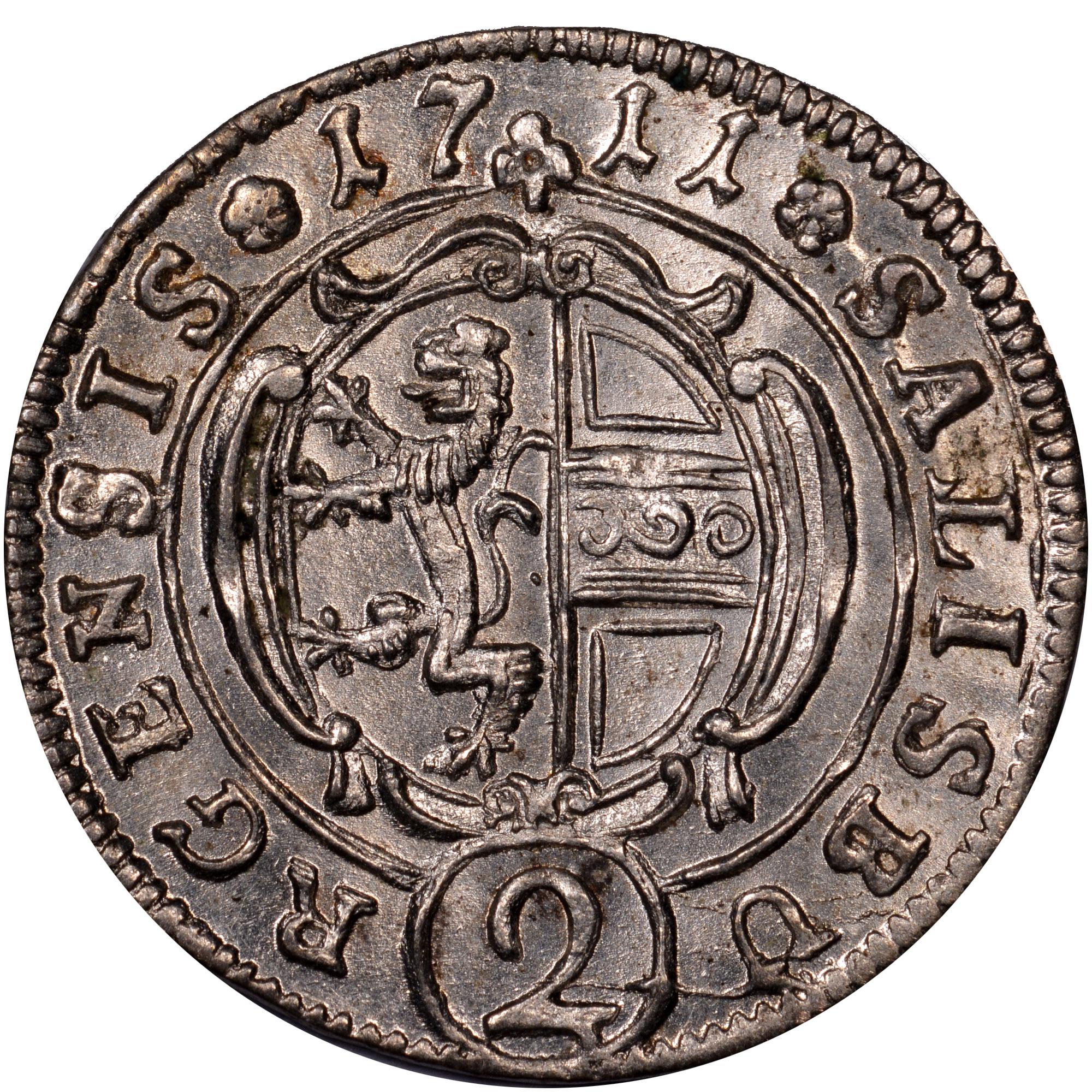 1708-1726 Austrian States SALZBURG 2 Kreuzer, 1/2 Batzen reverse