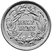 1860-1873 United States Half Dime reverse