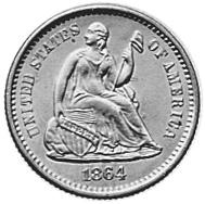 1860-1873 United States Half Dime obverse
