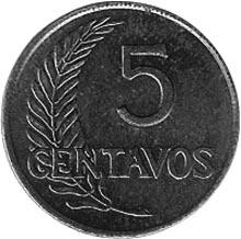 1951-1965 Peru 5 Centavos reverse