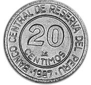 1985-1987 Peru 20 Centimos reverse