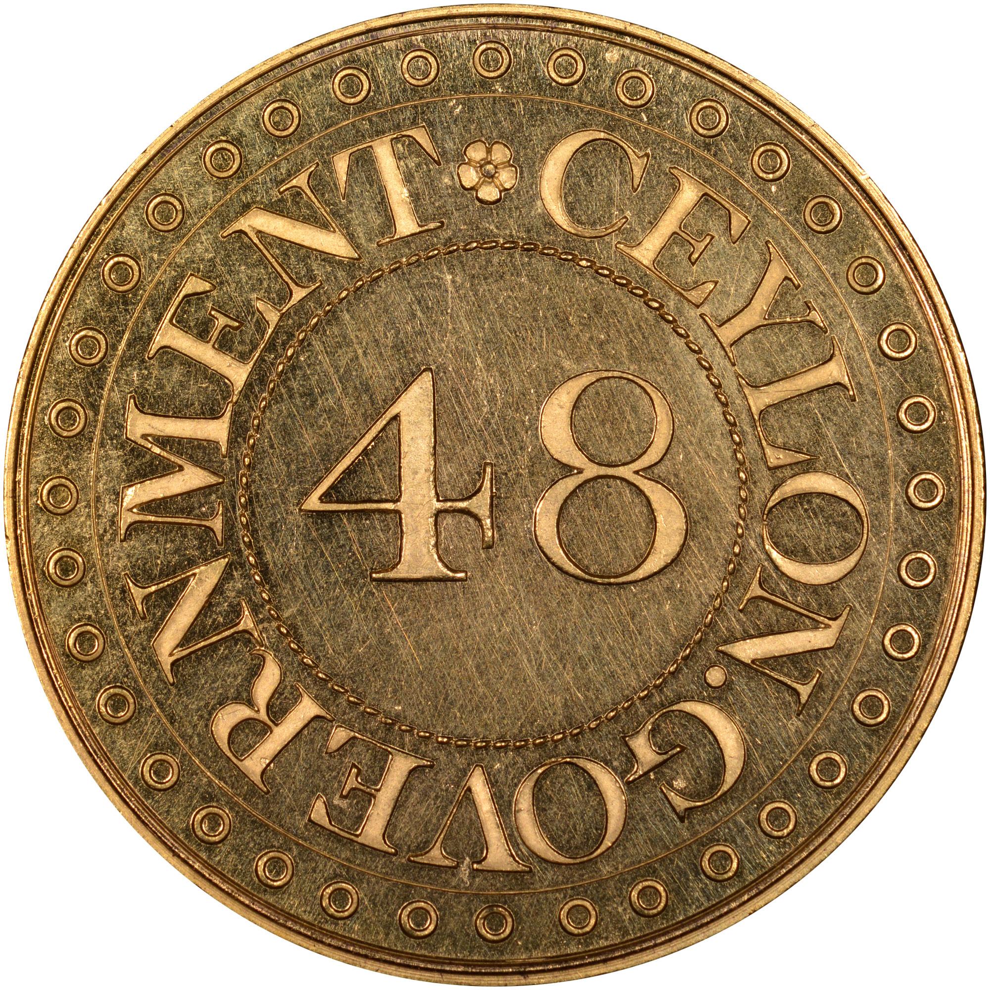 1802-1804 Ceylon 1/48 Rixdollar obverse