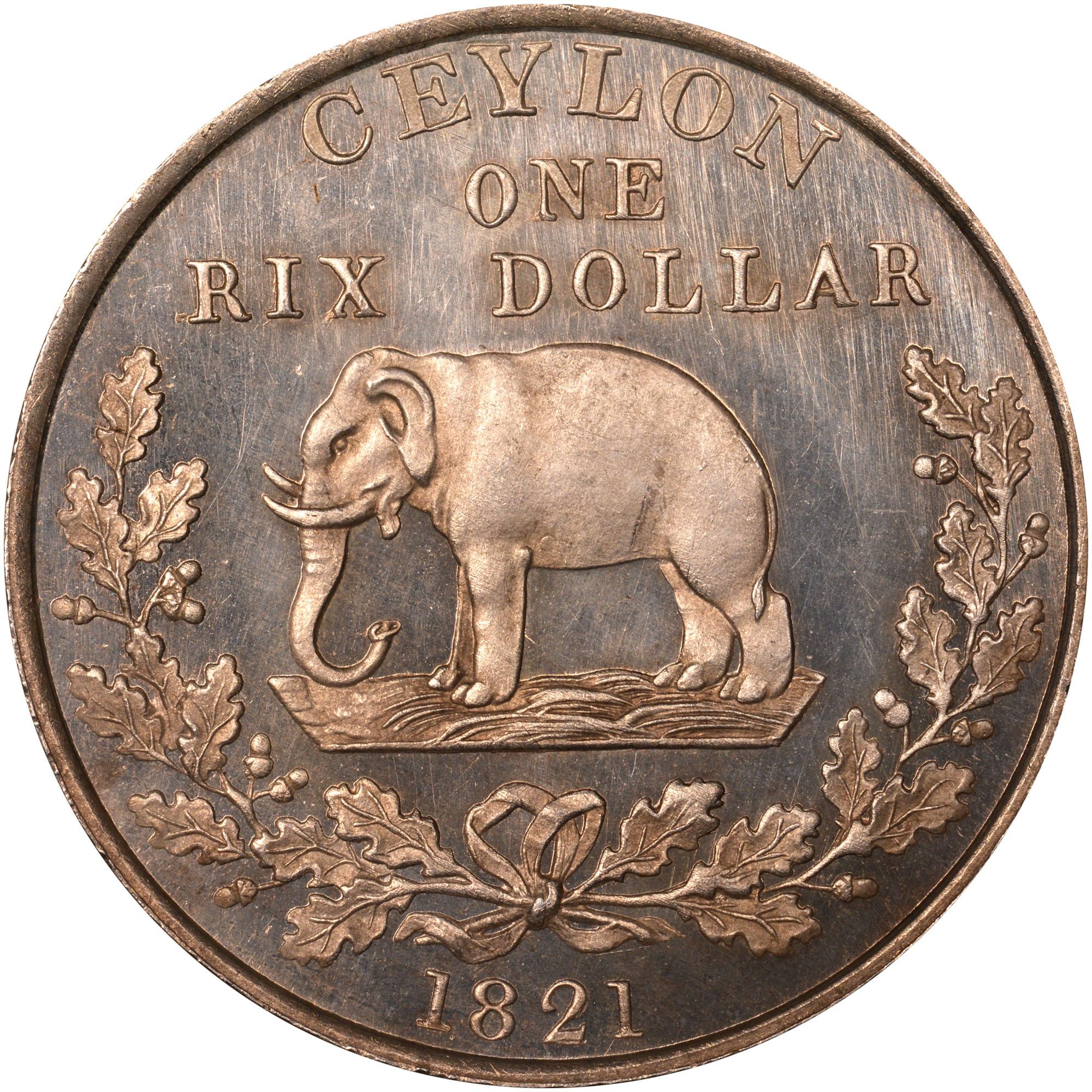 1821 Ceylon Rixdollar reverse