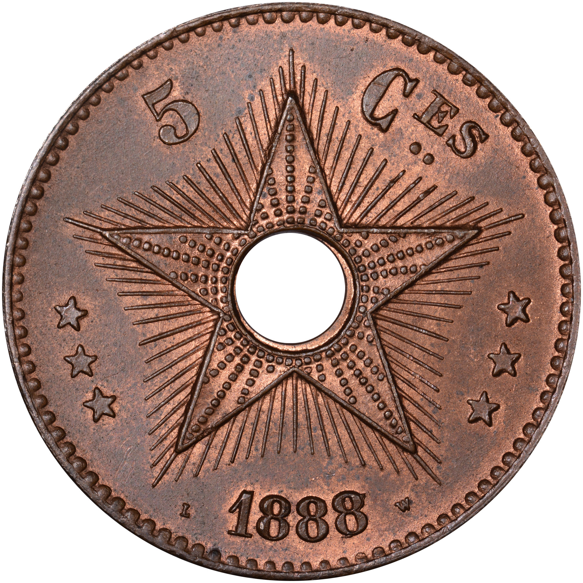 1887-1894 Congo Free State 5 Centimes reverse