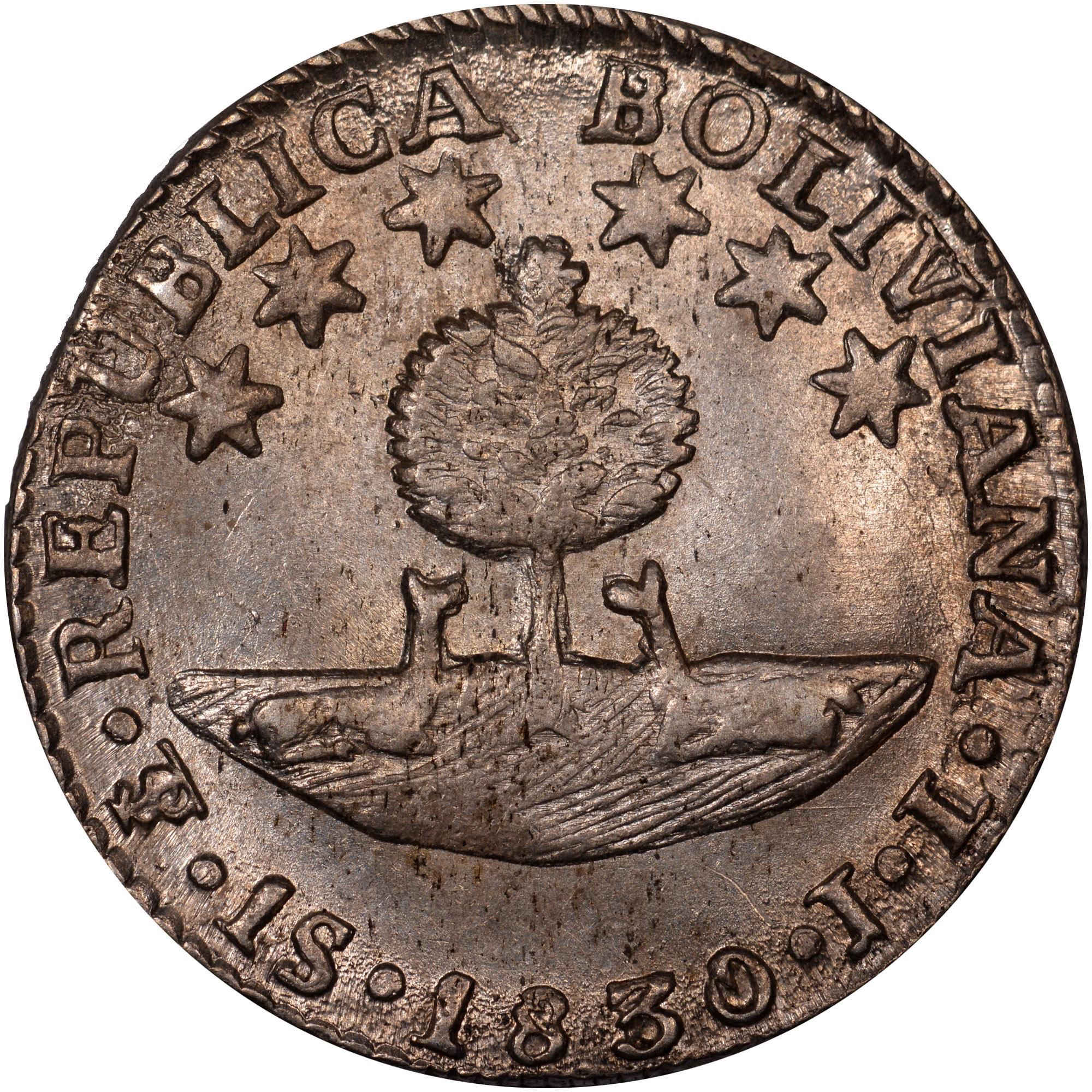 1830 Bolivia Sol reverse