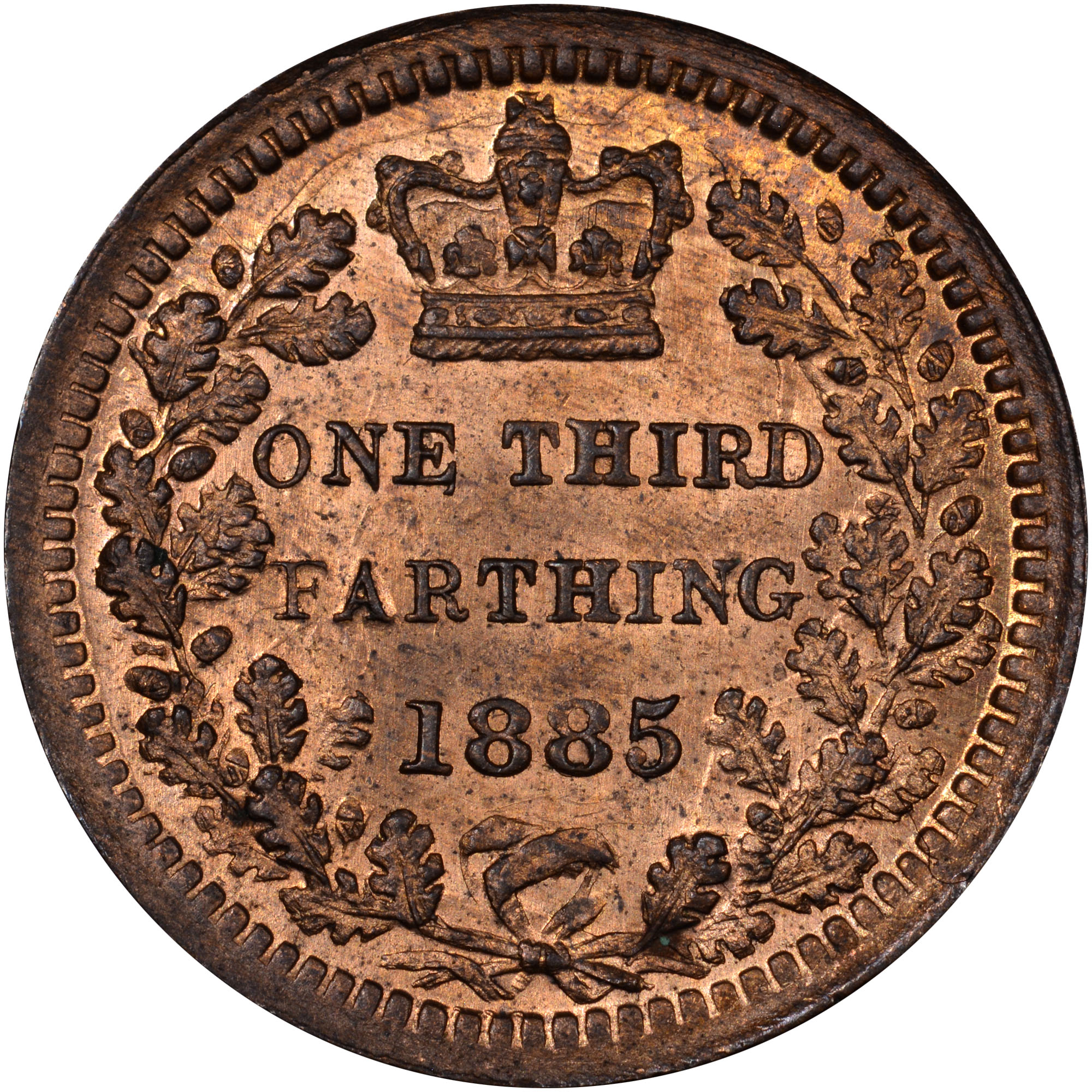 1866-1885 Great Britain 1/3 Farthing reverse