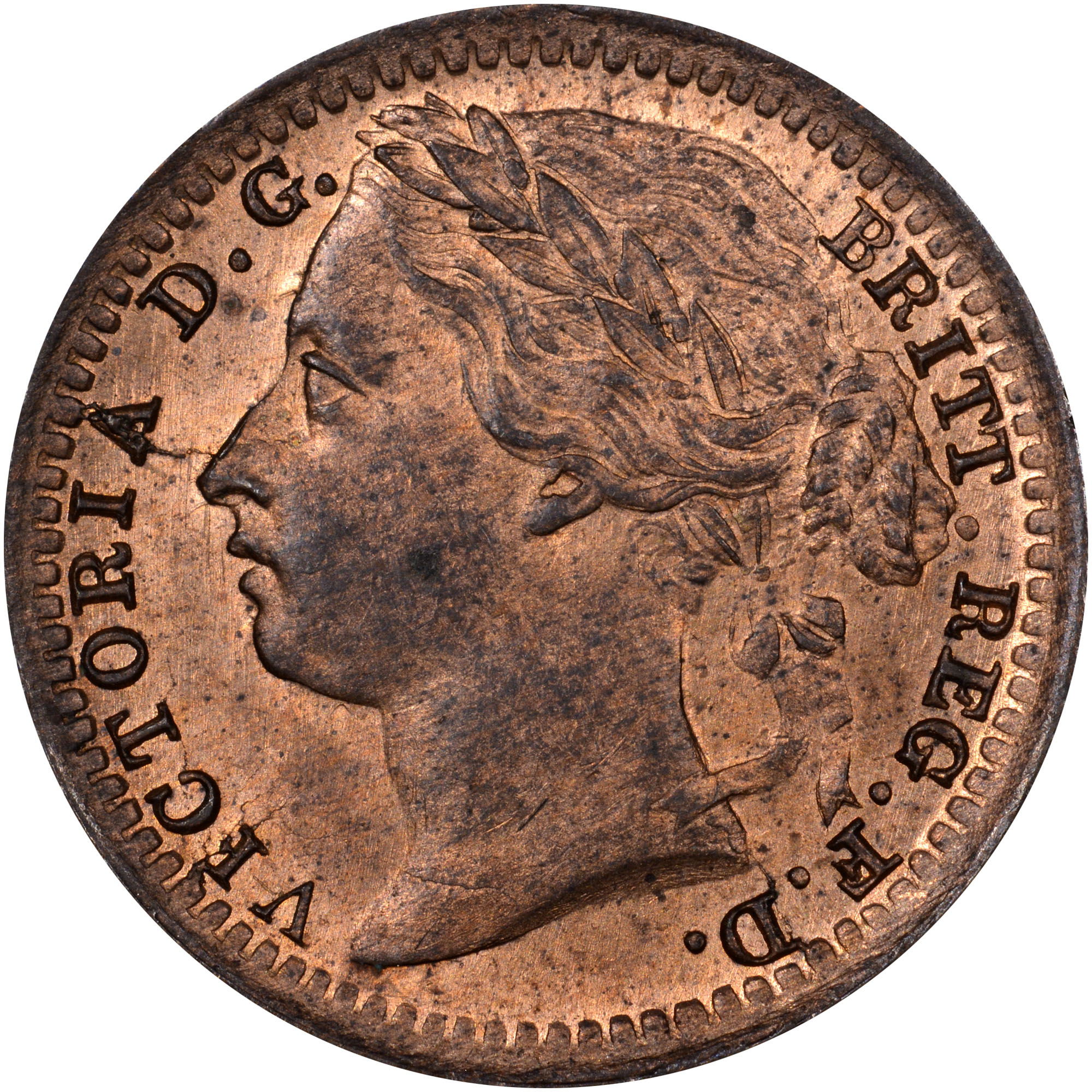 1866-1885 Great Britain 1/3 Farthing obverse