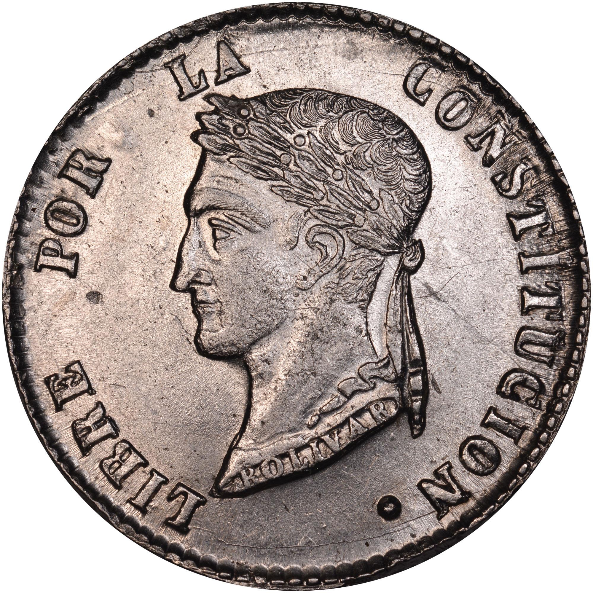 1853-1858 Bolivia 4 Soles reverse