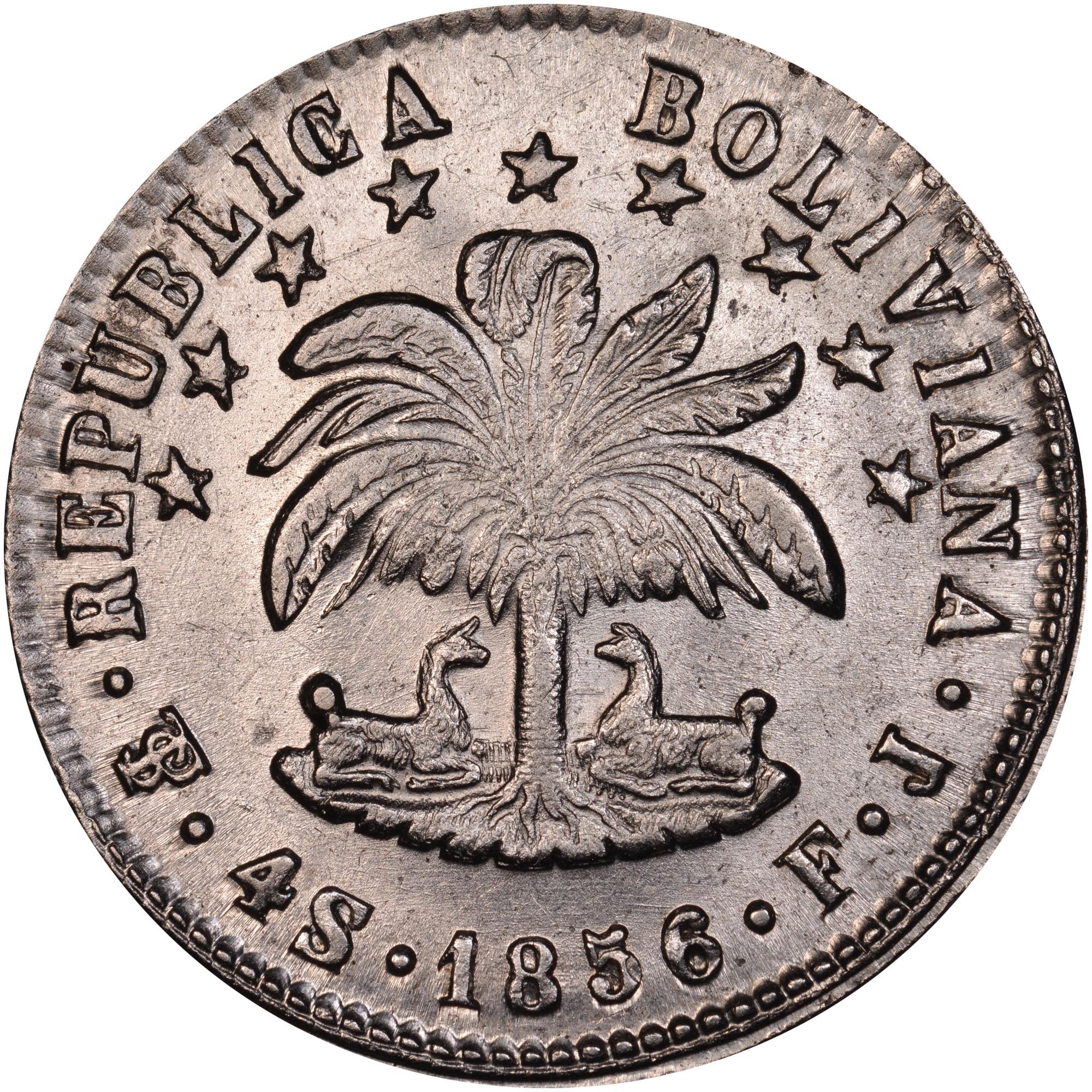 1853-1858 Bolivia 4 Soles obverse