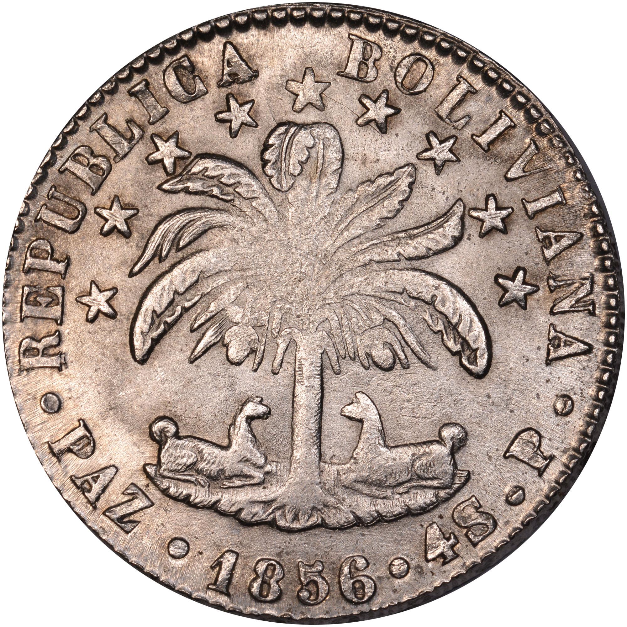 1(8/S)56-1858 Bolivia 4 Soles obverse