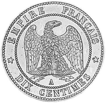1861-1865 France 10 Centimes reverse
