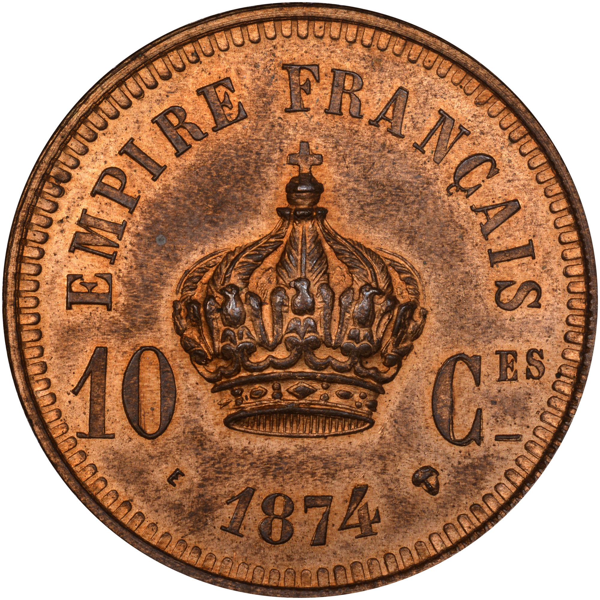 1874 France 10 Centimes reverse