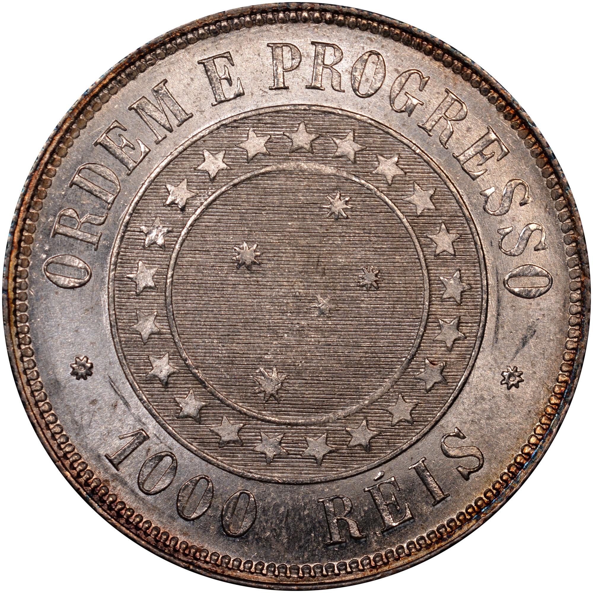 1889 Brazil 1000 Reis reverse