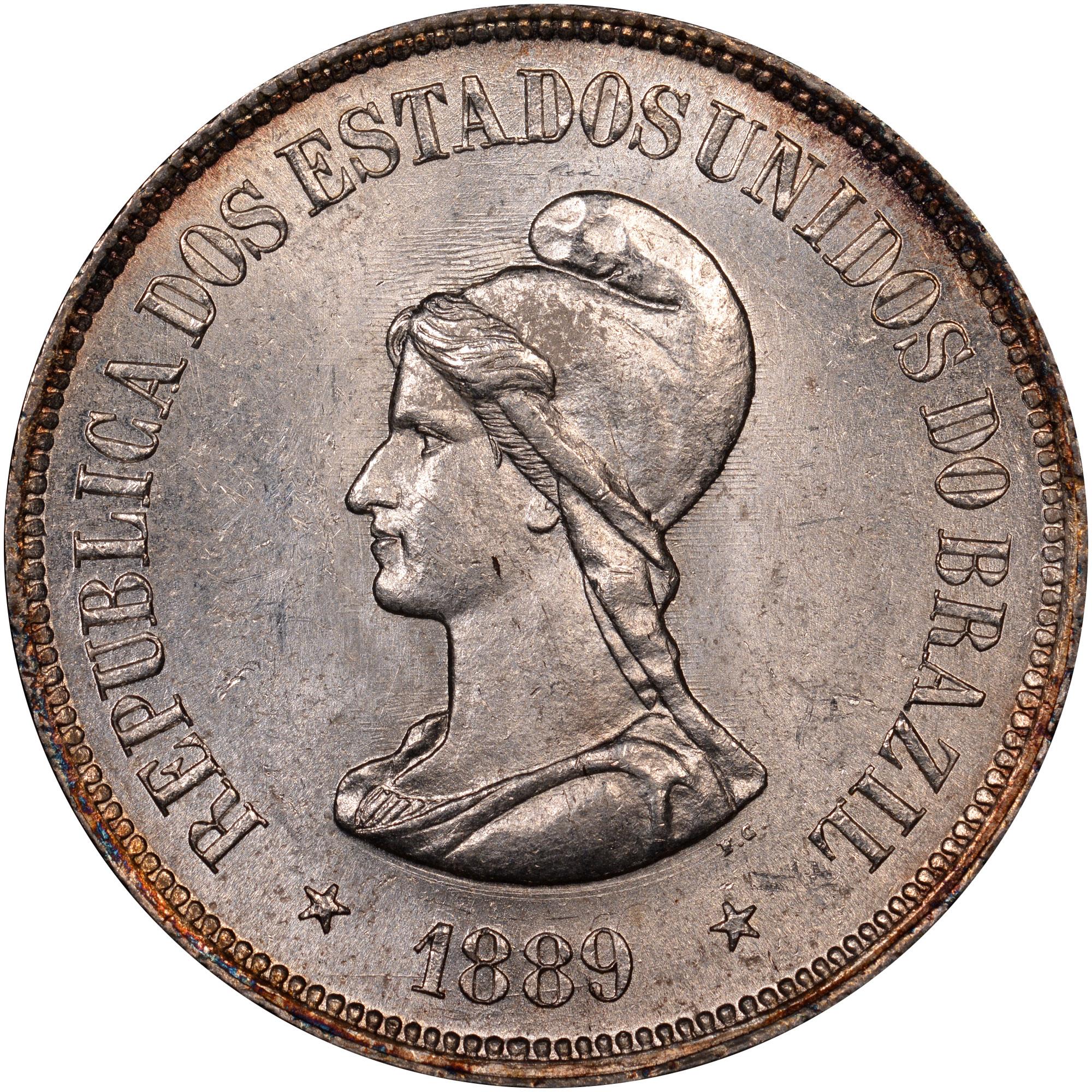 1889 Brazil 1000 Reis obverse