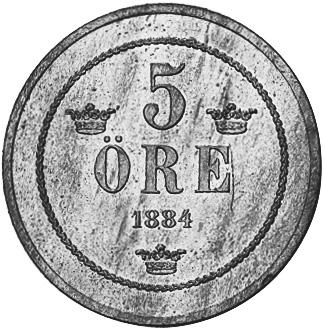 1874-1889 Sweden 5 Ore reverse
