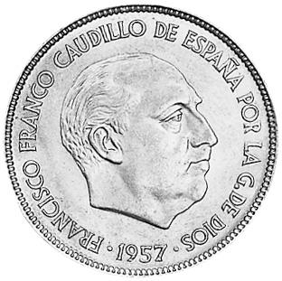 1957 (58)-1957(BA) Spain 25 Pesetas obverse
