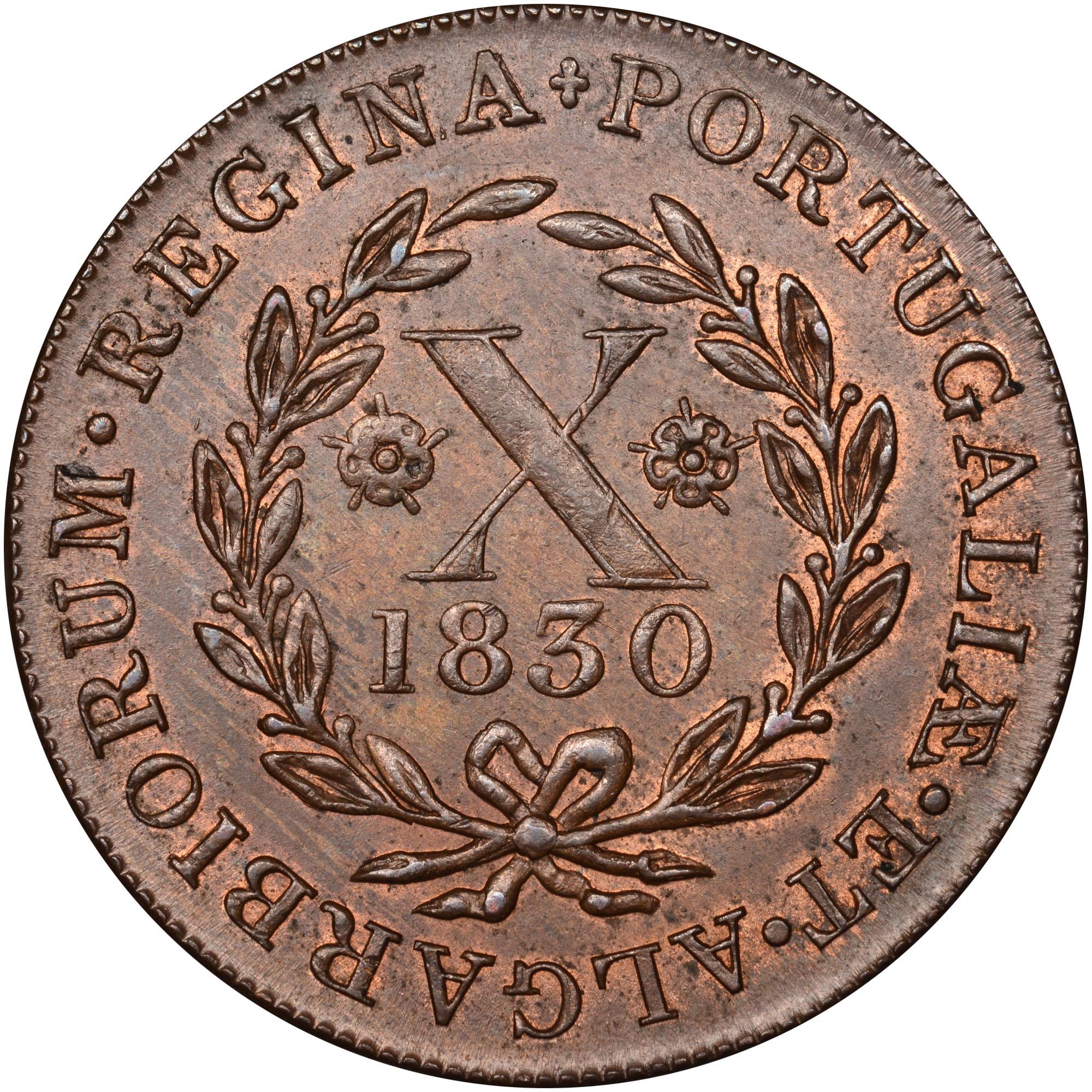 1830 Azores TERCEIRA ISLAND 10 Reis reverse