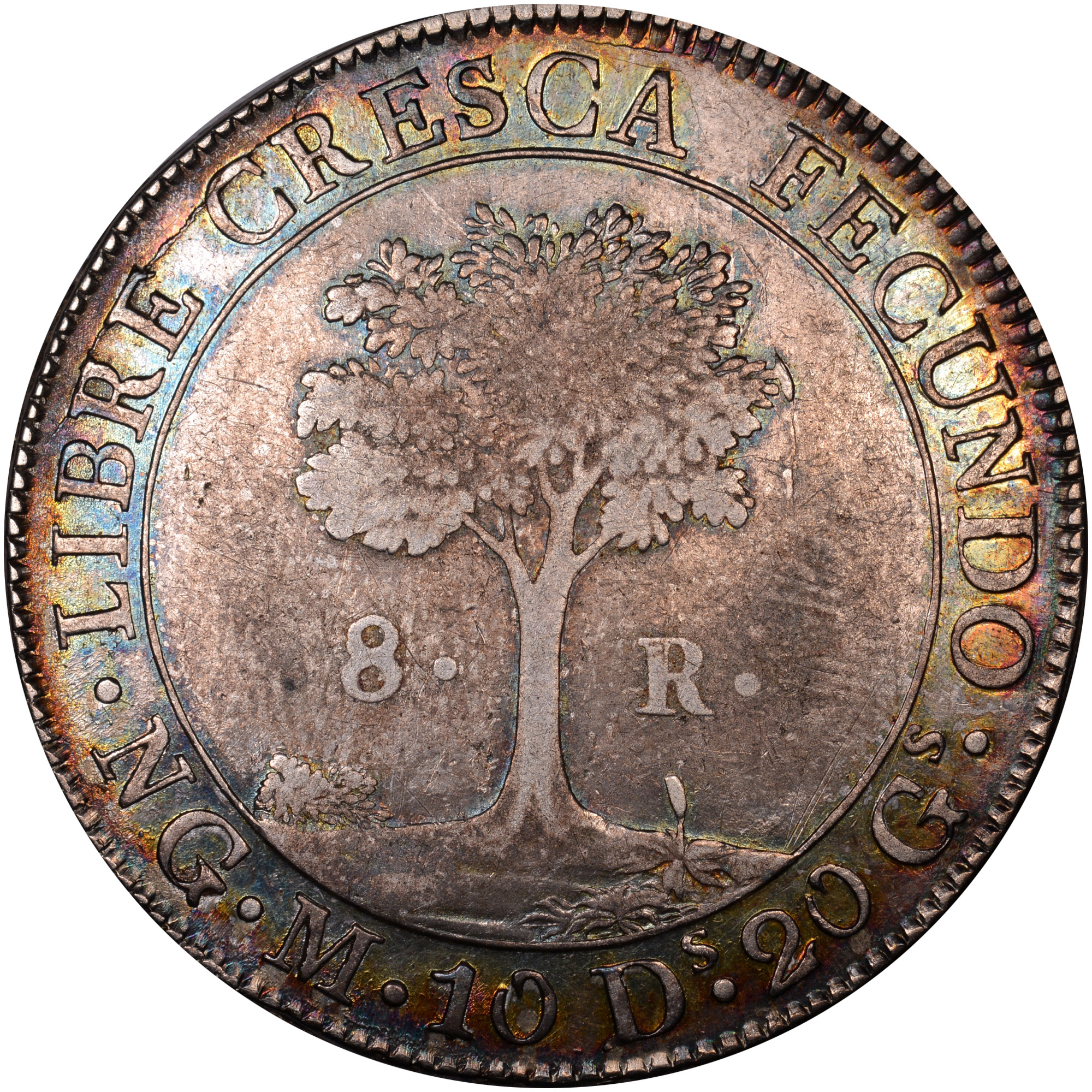1824-1847/6 Central American Republic 8 Reales reverse