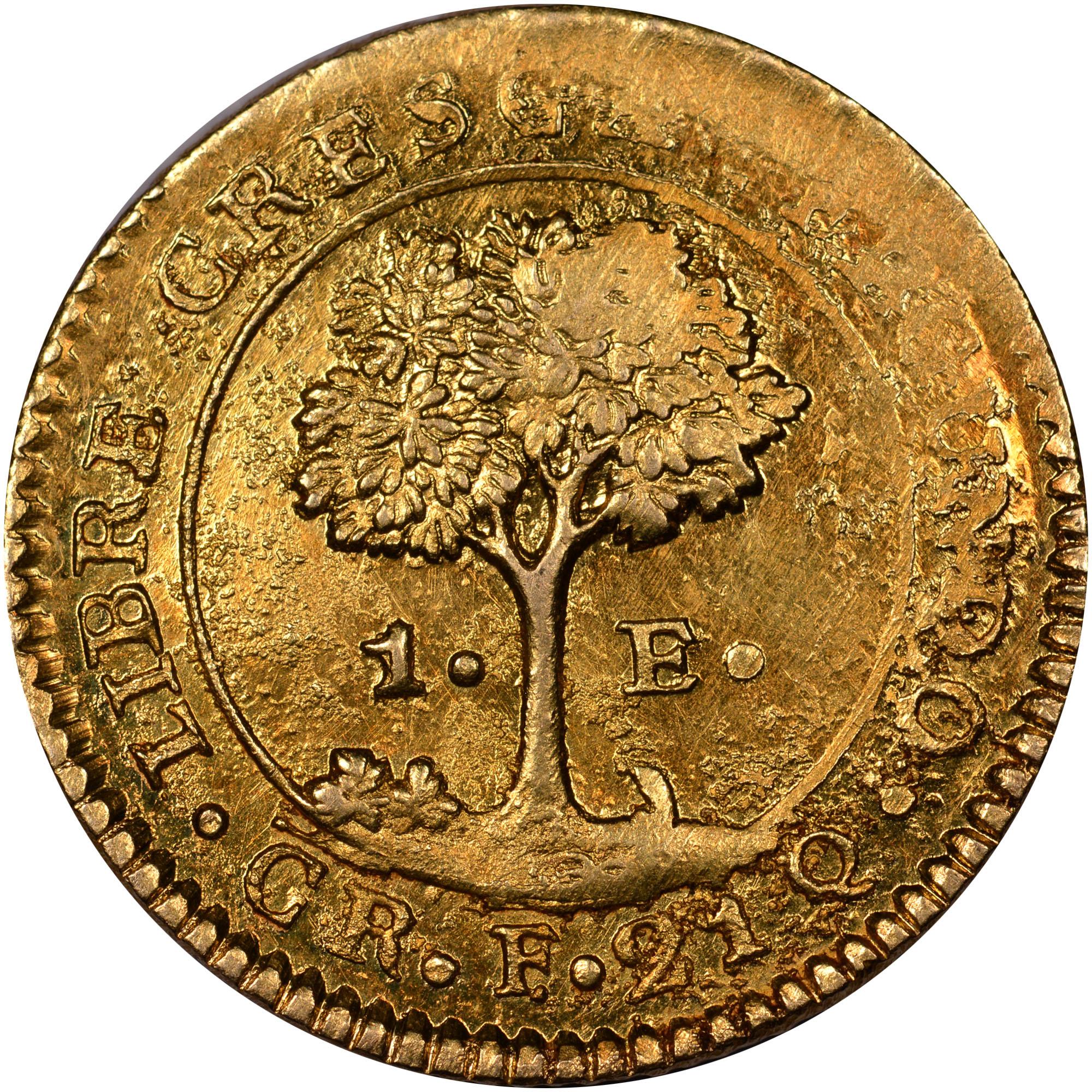 1828-1850 Central American Republic Escudo reverse