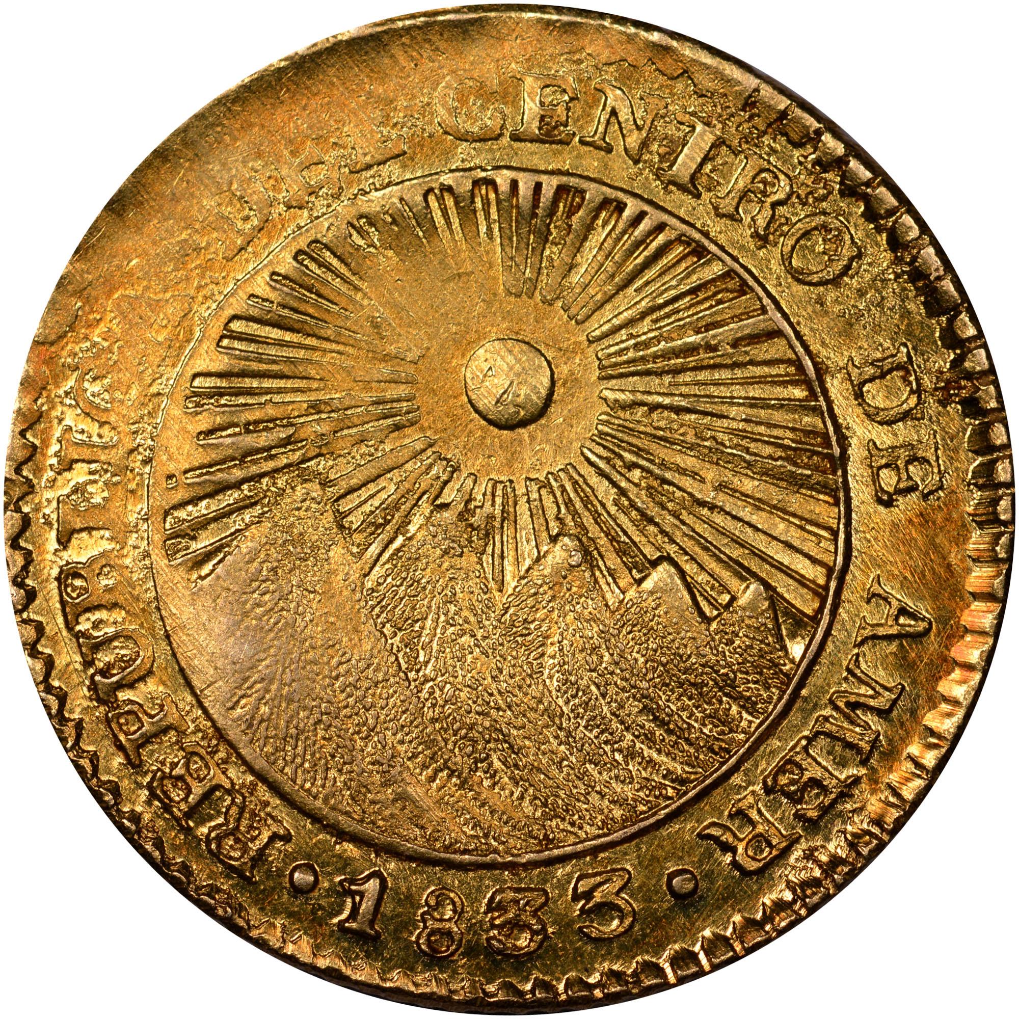 1828-1850 Central American Republic Escudo obverse
