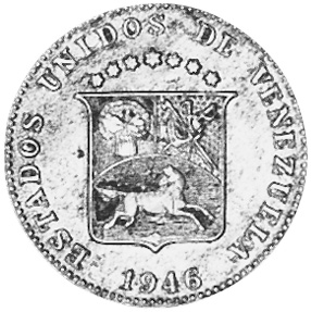 1945-1948 Venezuela 12-1/2 Centimos obverse
