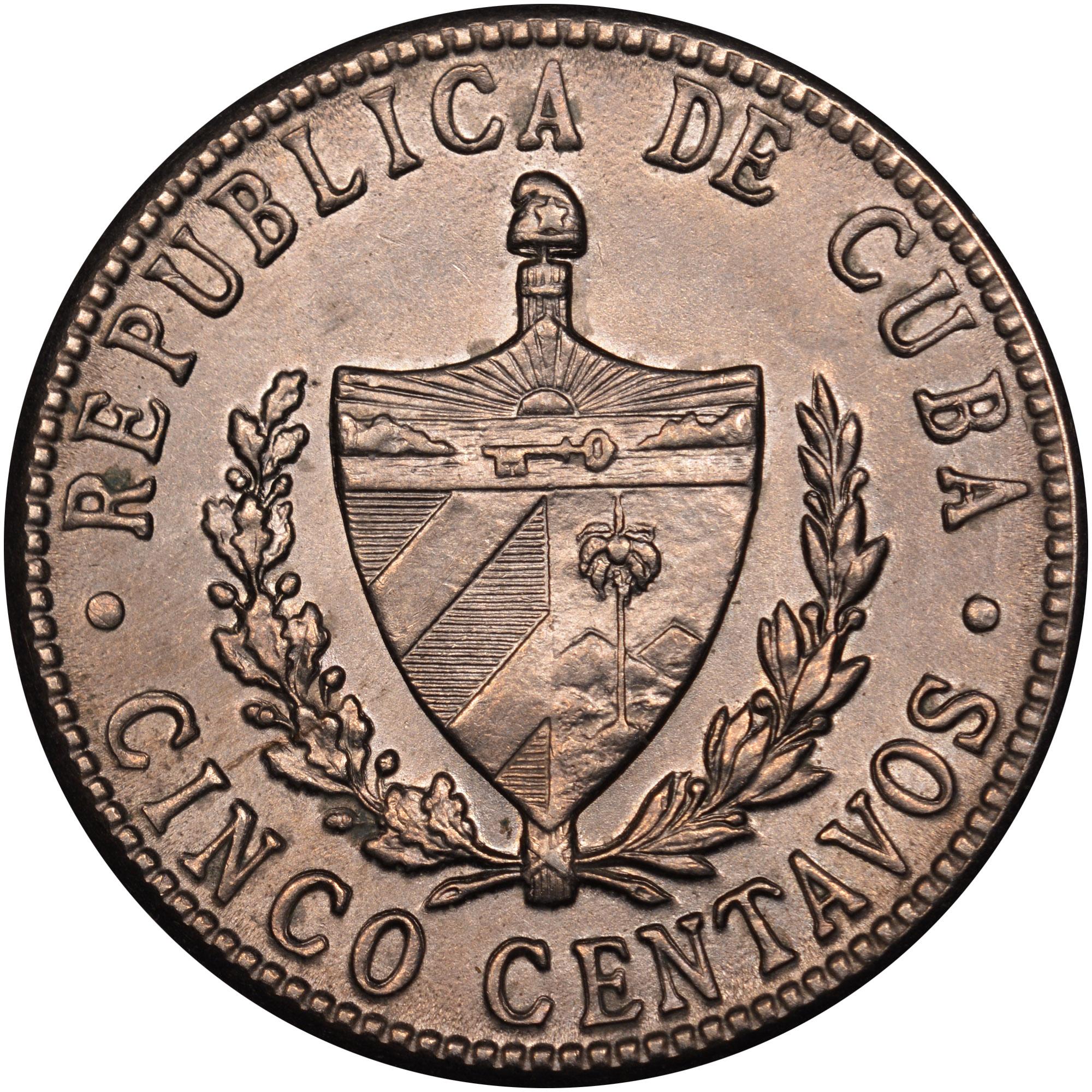 1946-1961 Cuba 5 Centavos obverse