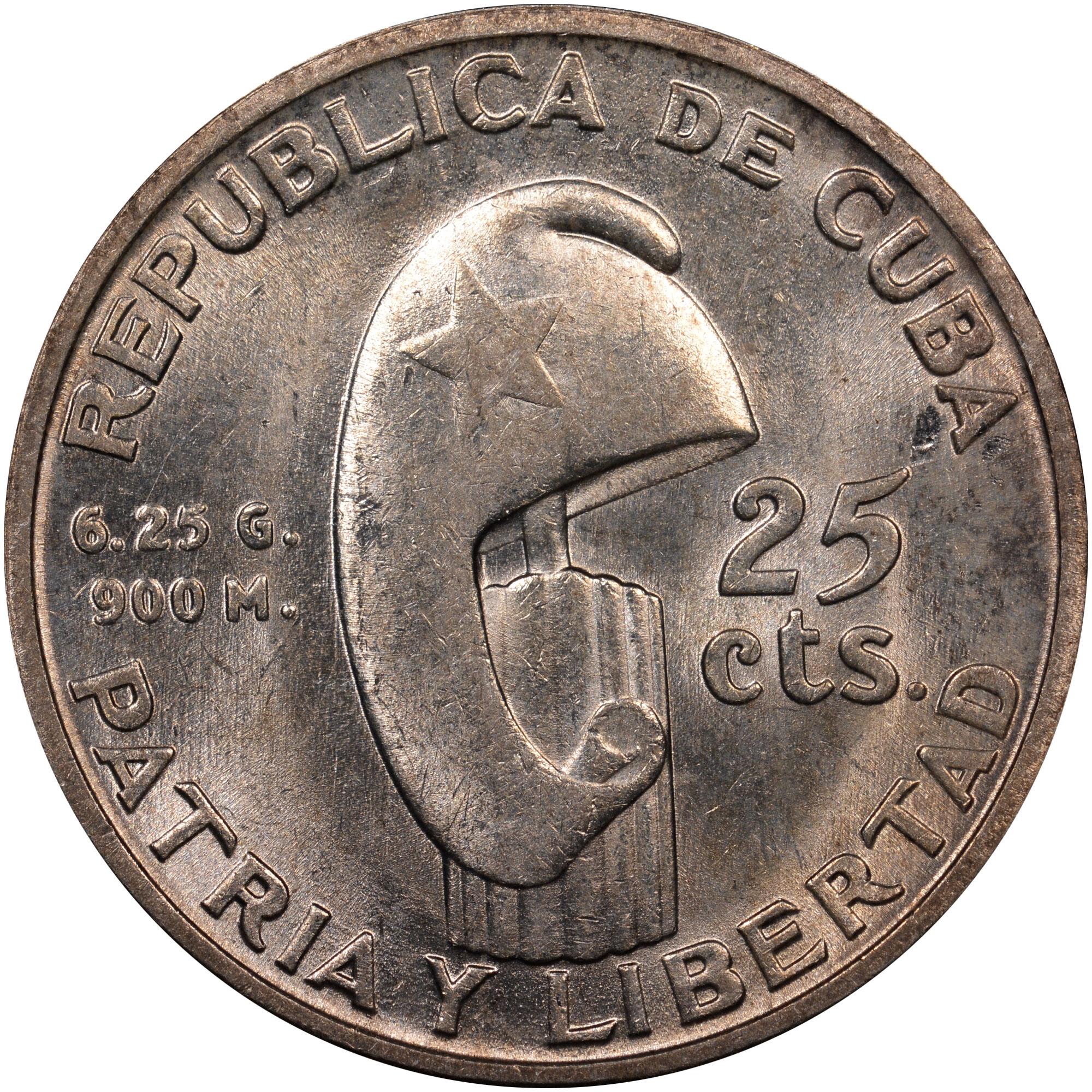 1953 Cuba 25 Centavos obverse