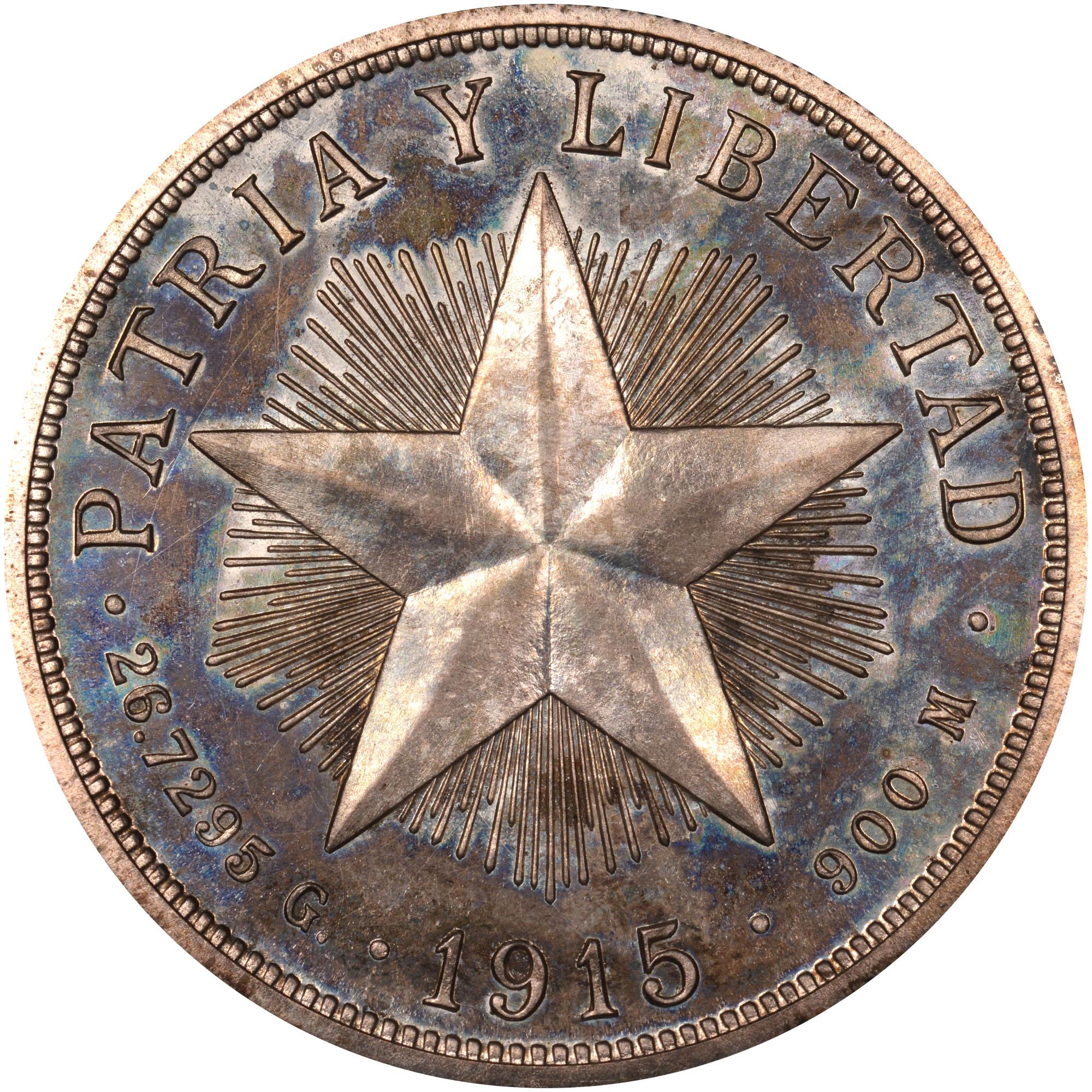 1915 Cuba Peso reverse