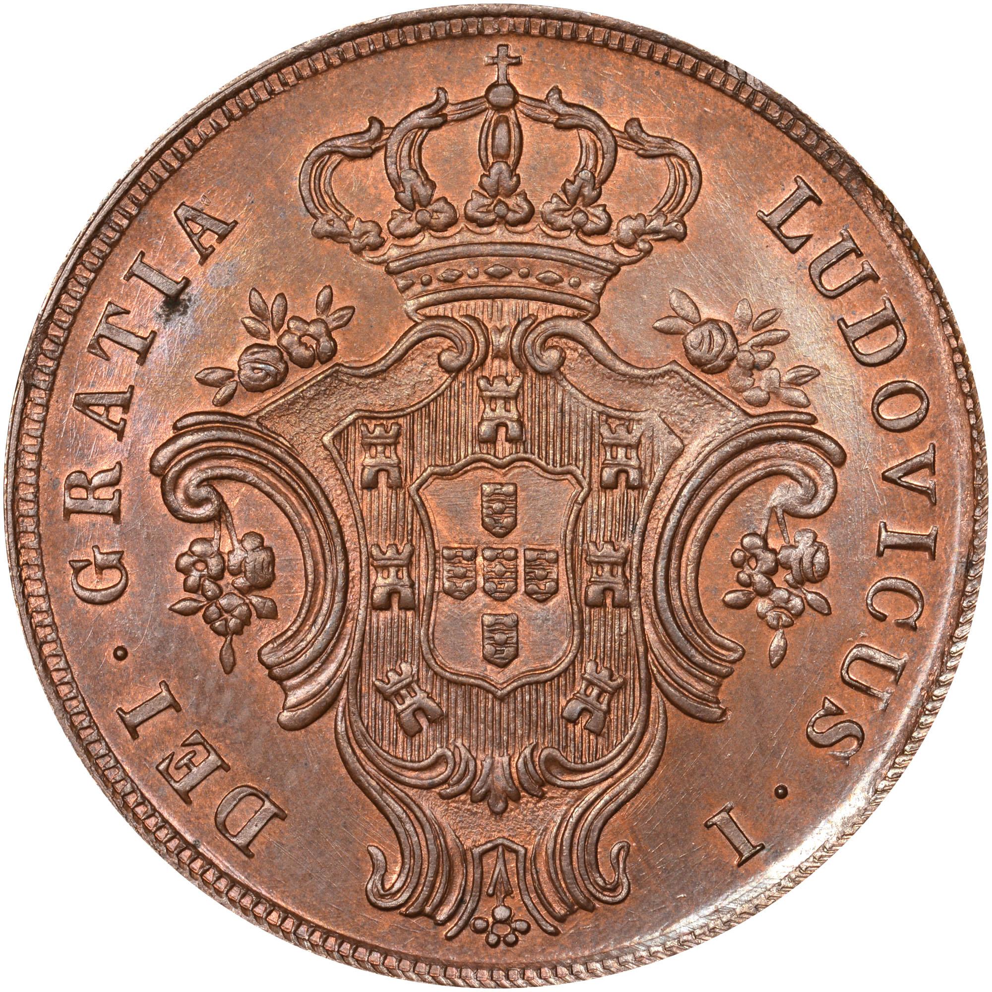 1865-1866 Azores 10 Reis obverse