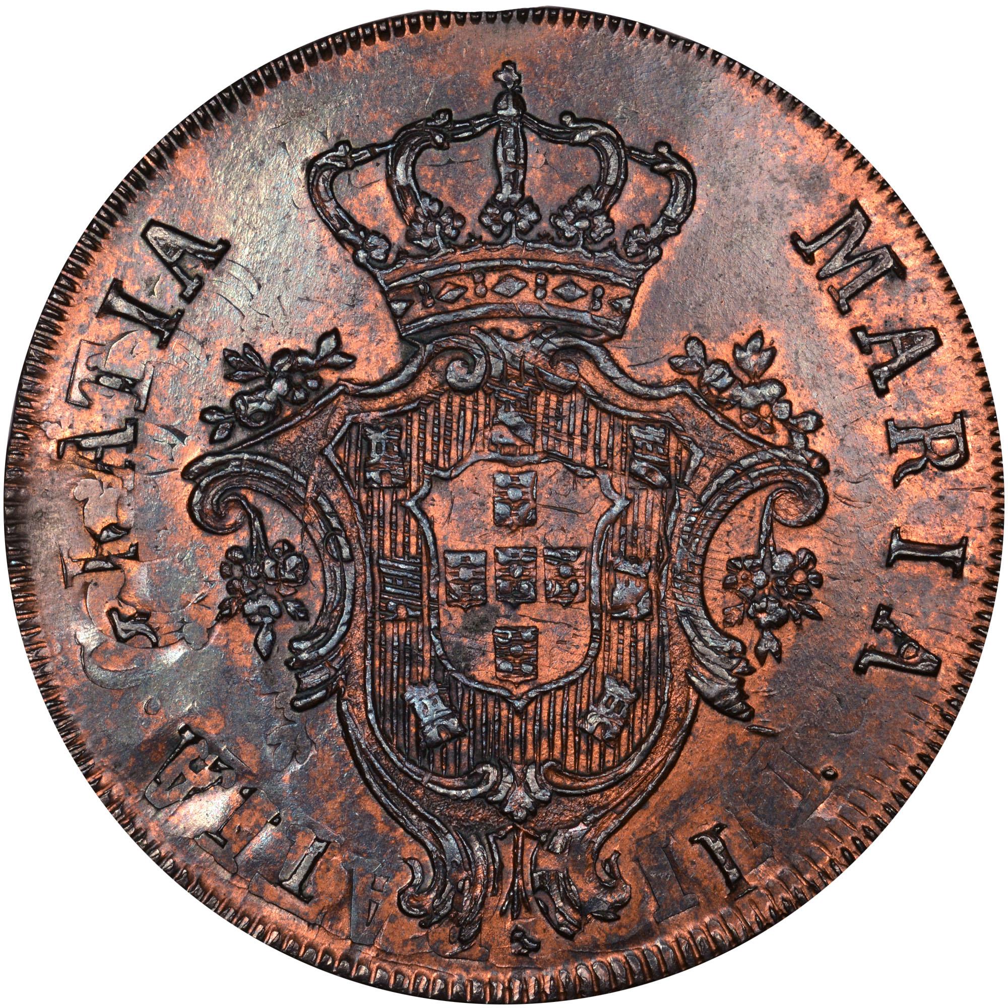 1790-1798 Azores 20 Reis obverse