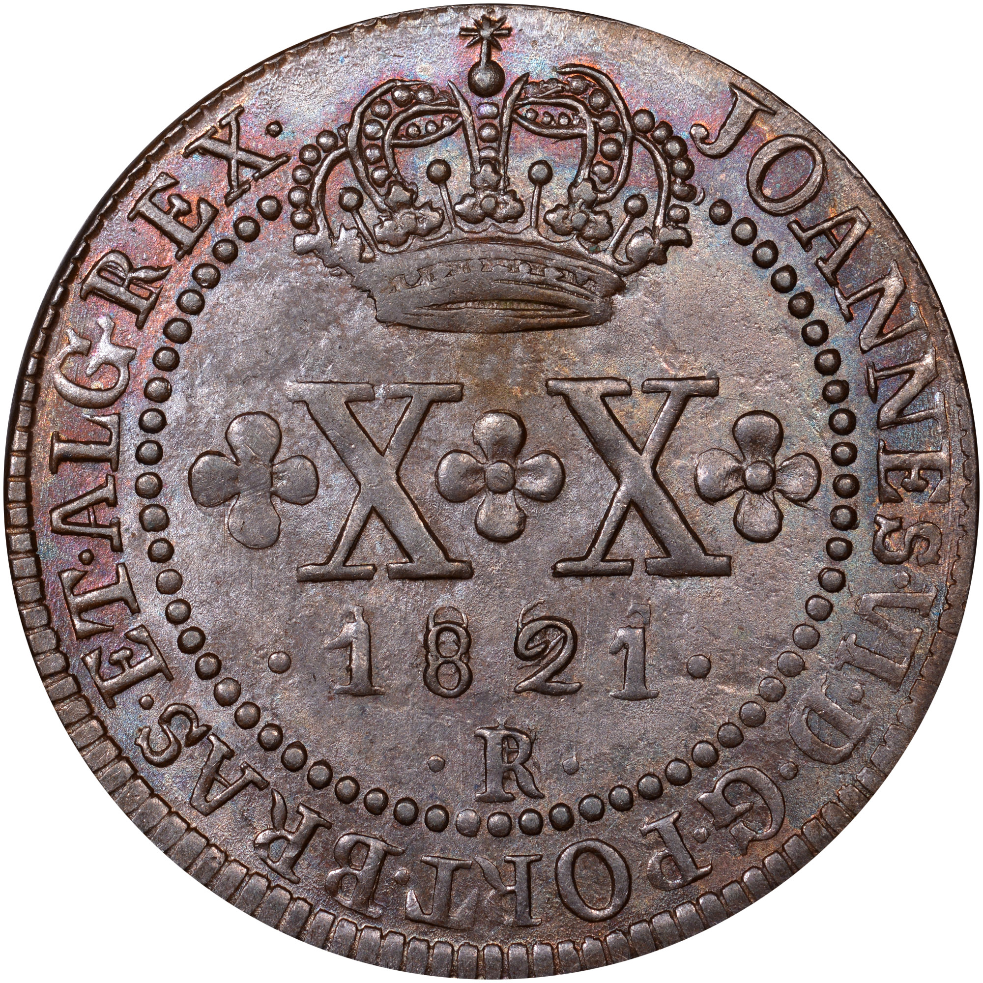1818-1822 Brazil 20 Reis obverse