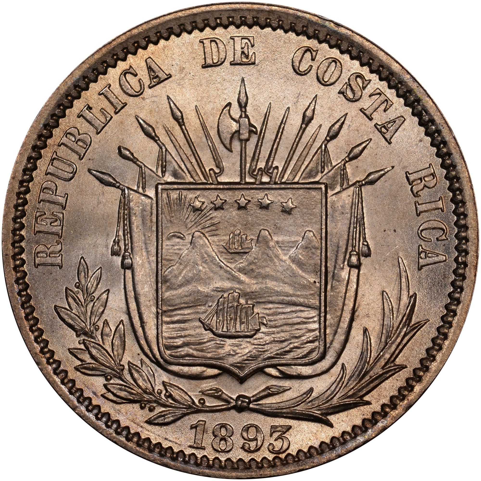 1889-1893 Costa Rica 25 Centavos obverse