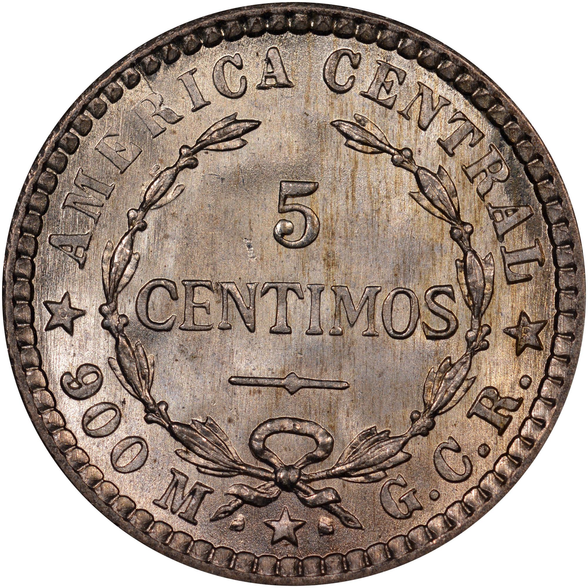 1905-1914 Costa Rica 5 Centimos reverse