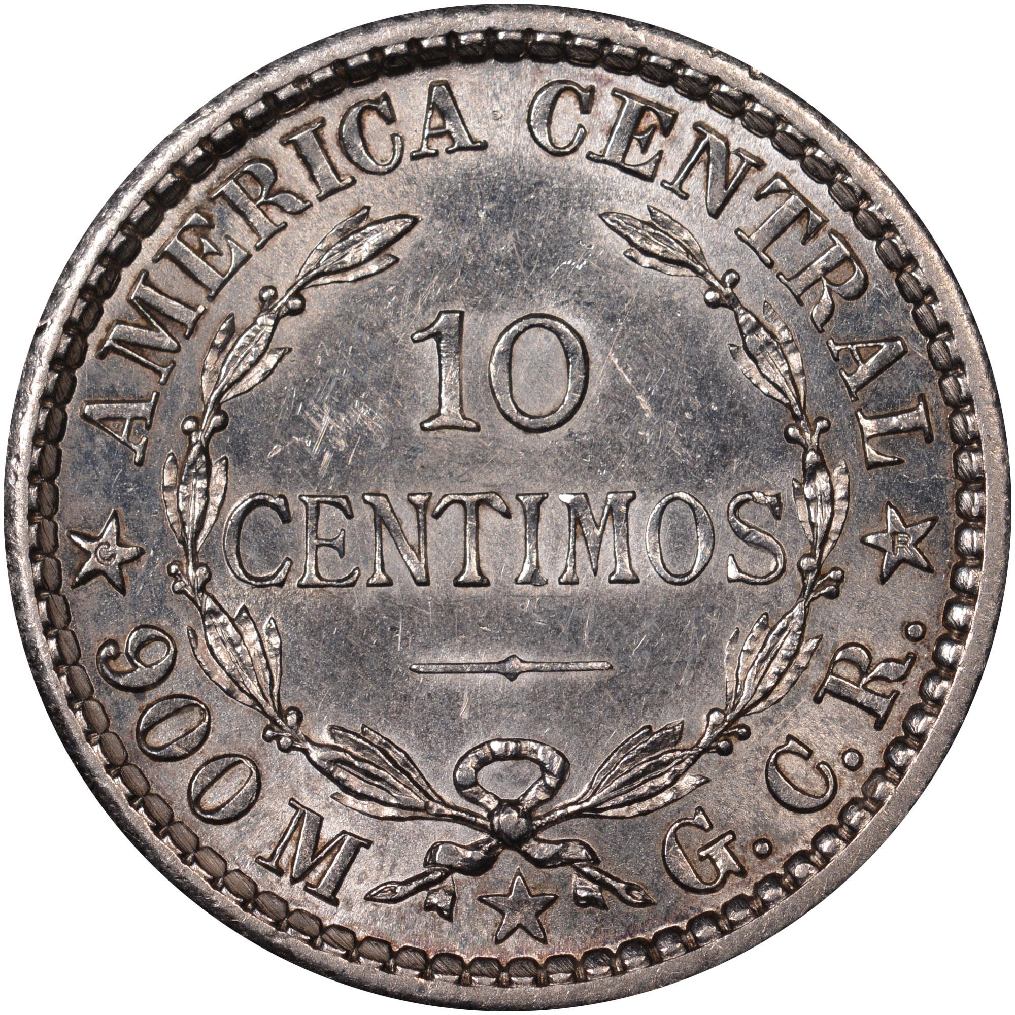 1905-1914 Costa Rica 10 Centimos reverse