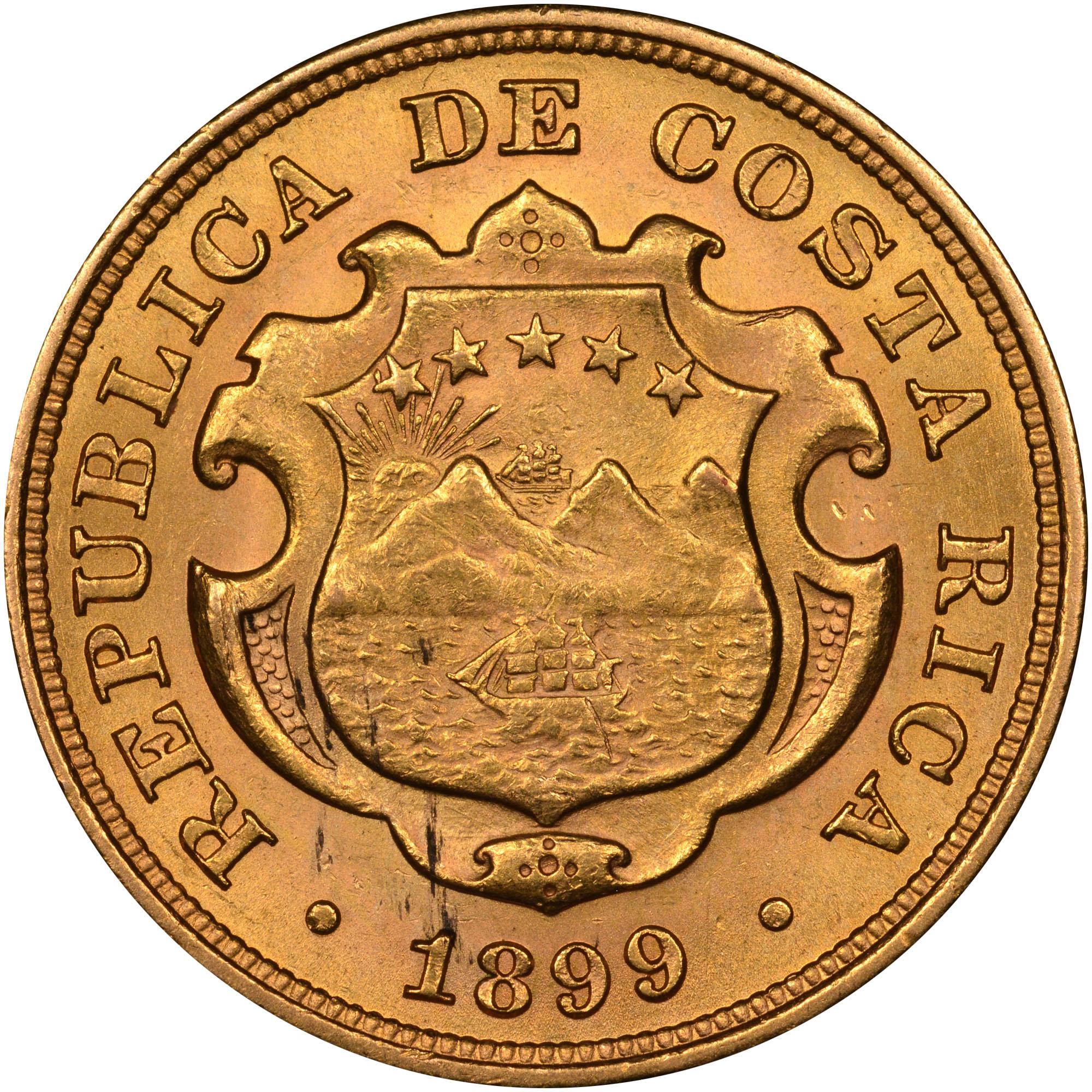 1897-1900 Costa Rica 10 Colones obverse