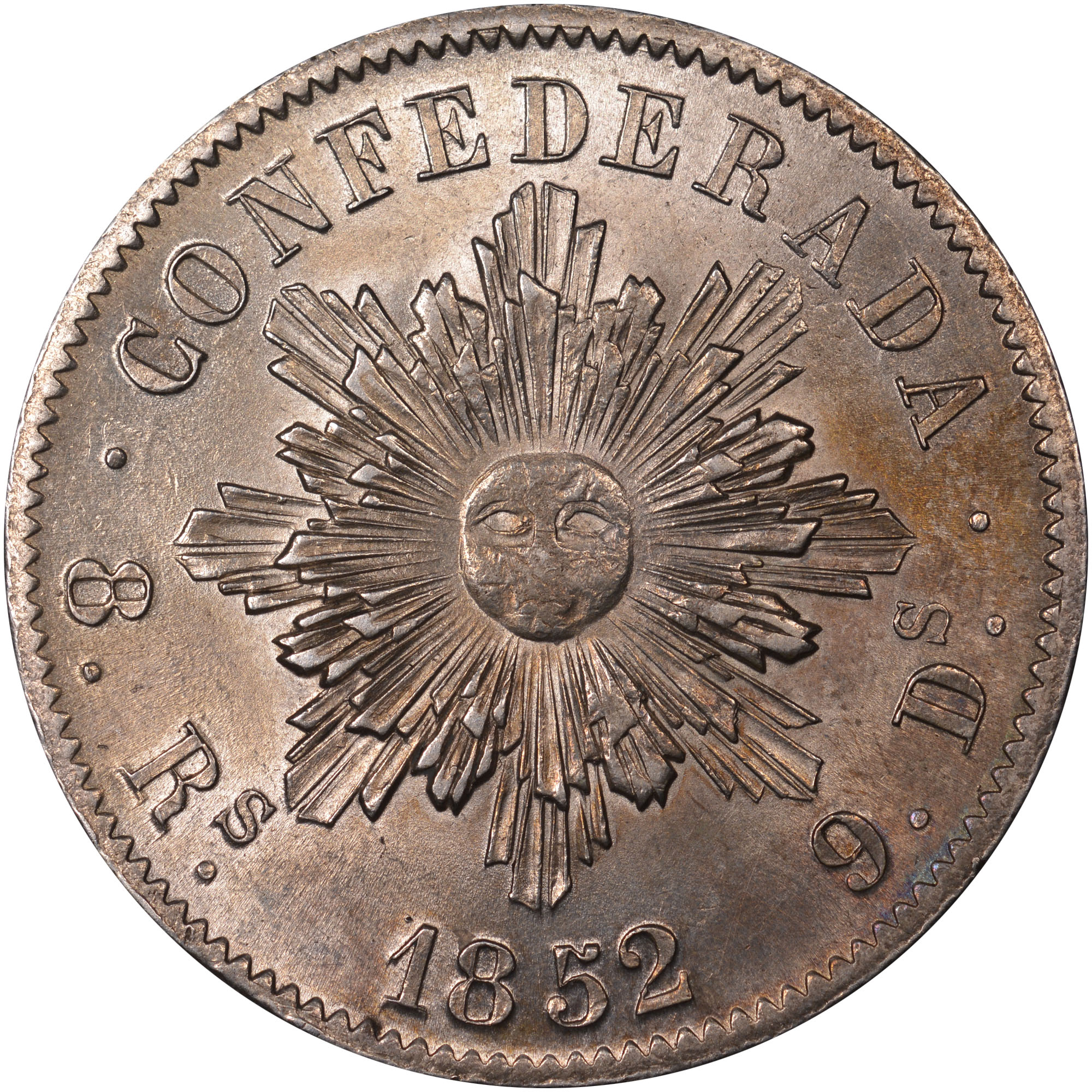 1852 Argentina CORDOBA 8 Reales reverse