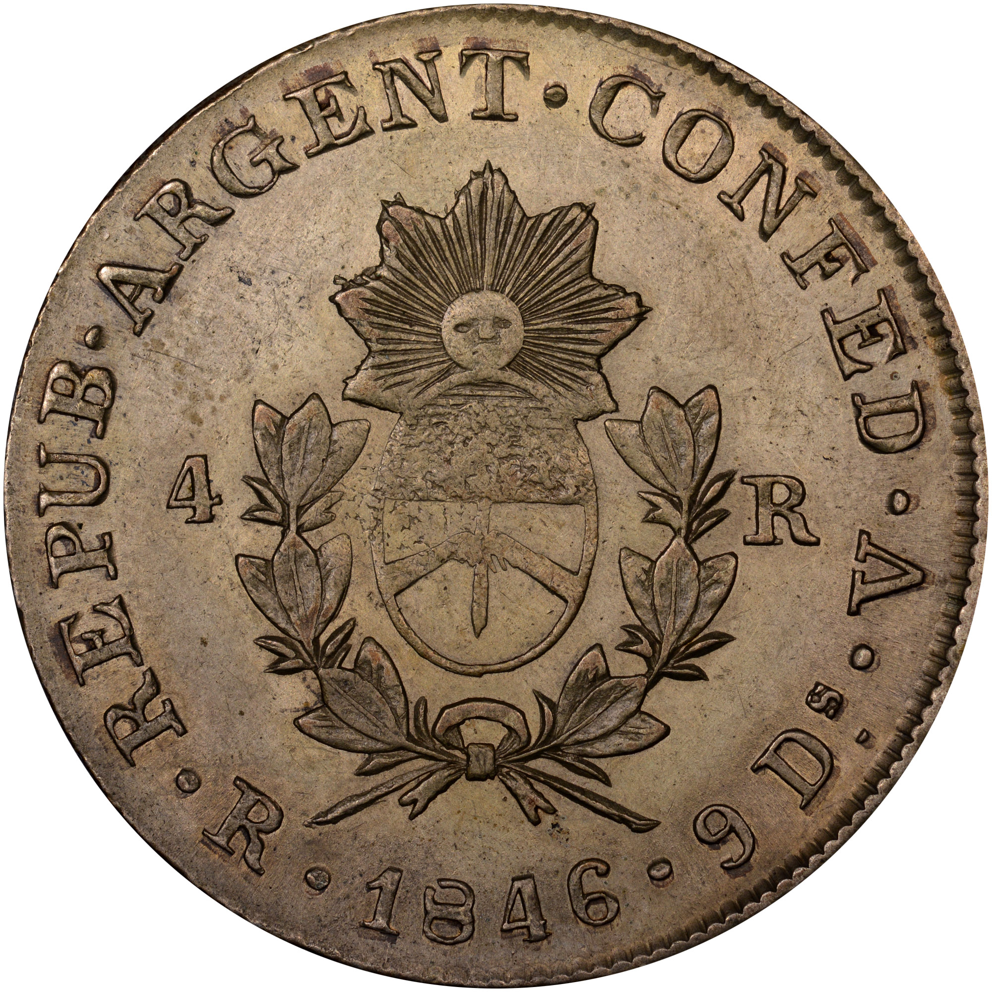 1846-1850 Argentina LA RIOJA 4 Reales obverse