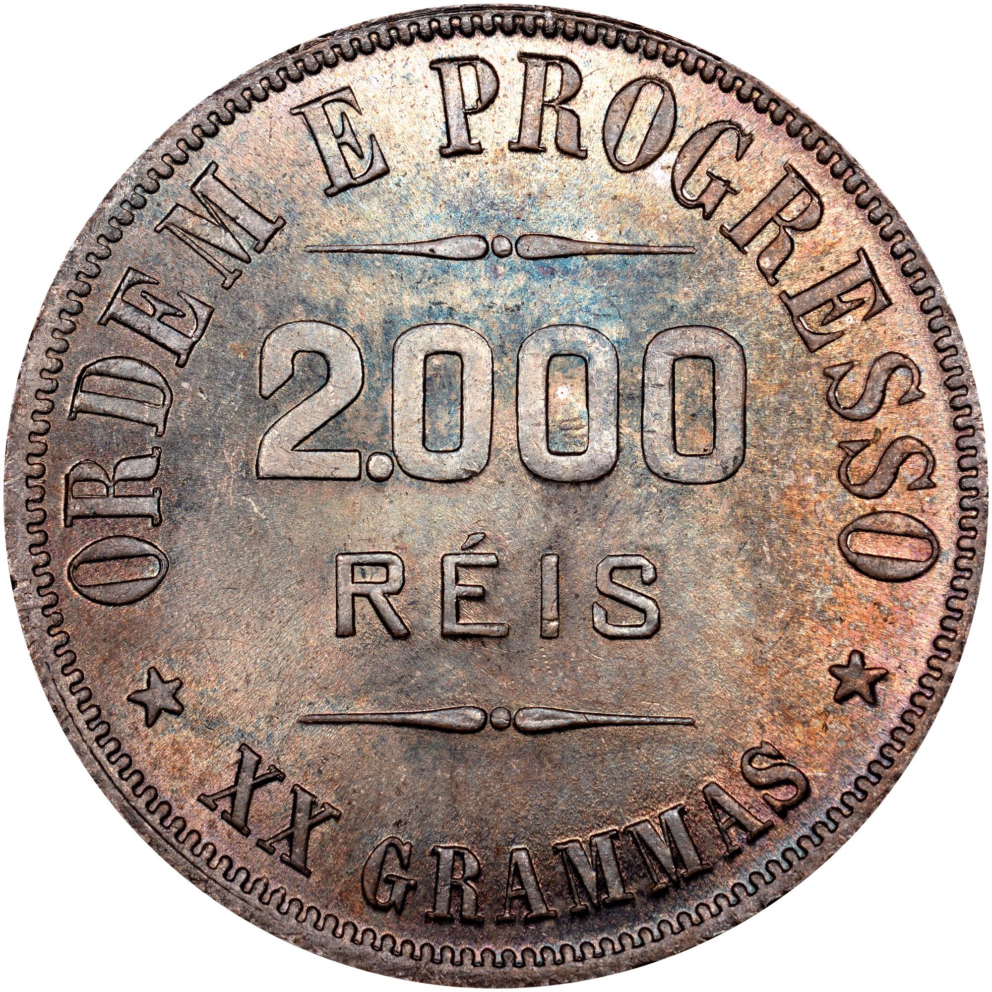 1906-1912 Brazil 2000 Reis reverse