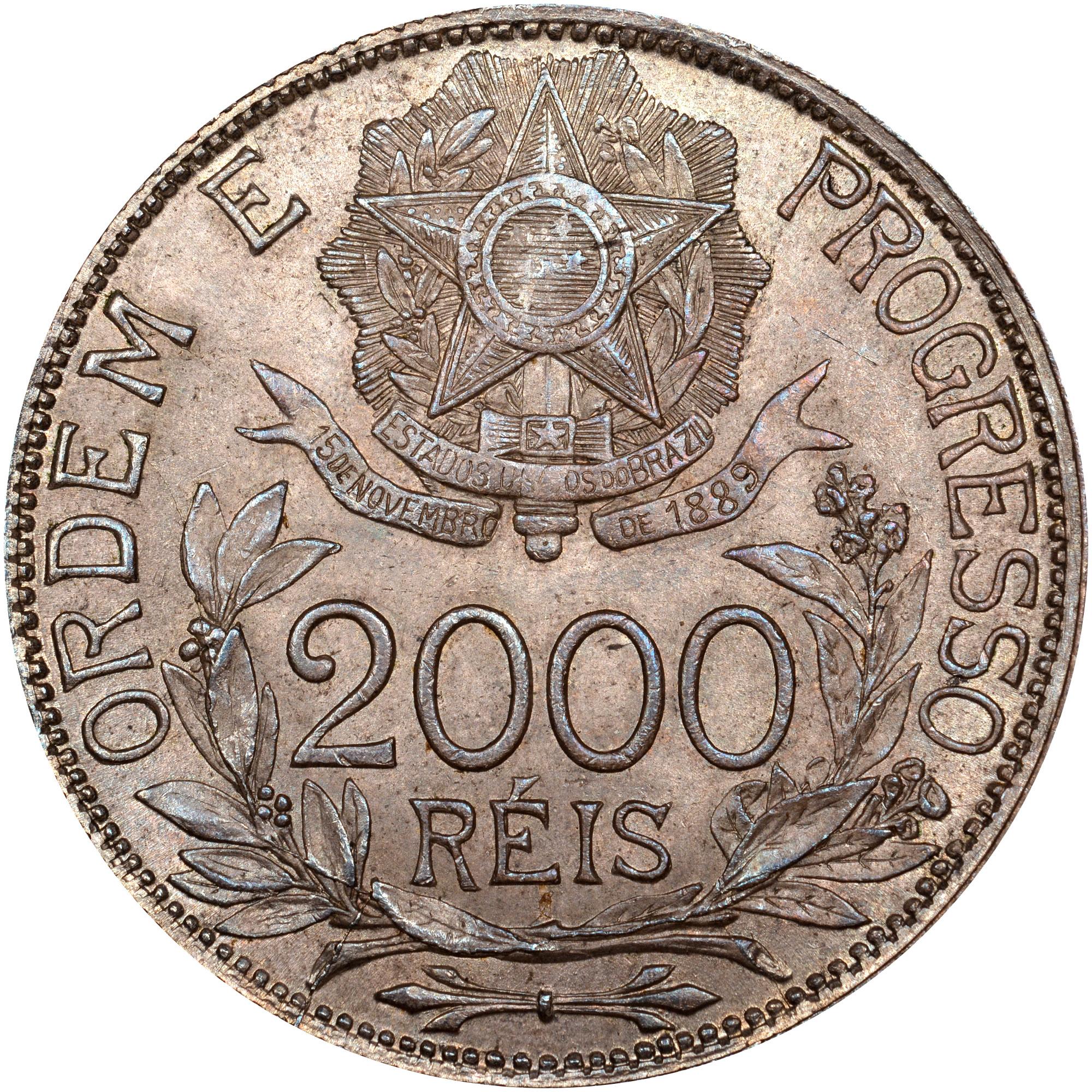 1912-1913 Brazil 2000 Reis reverse