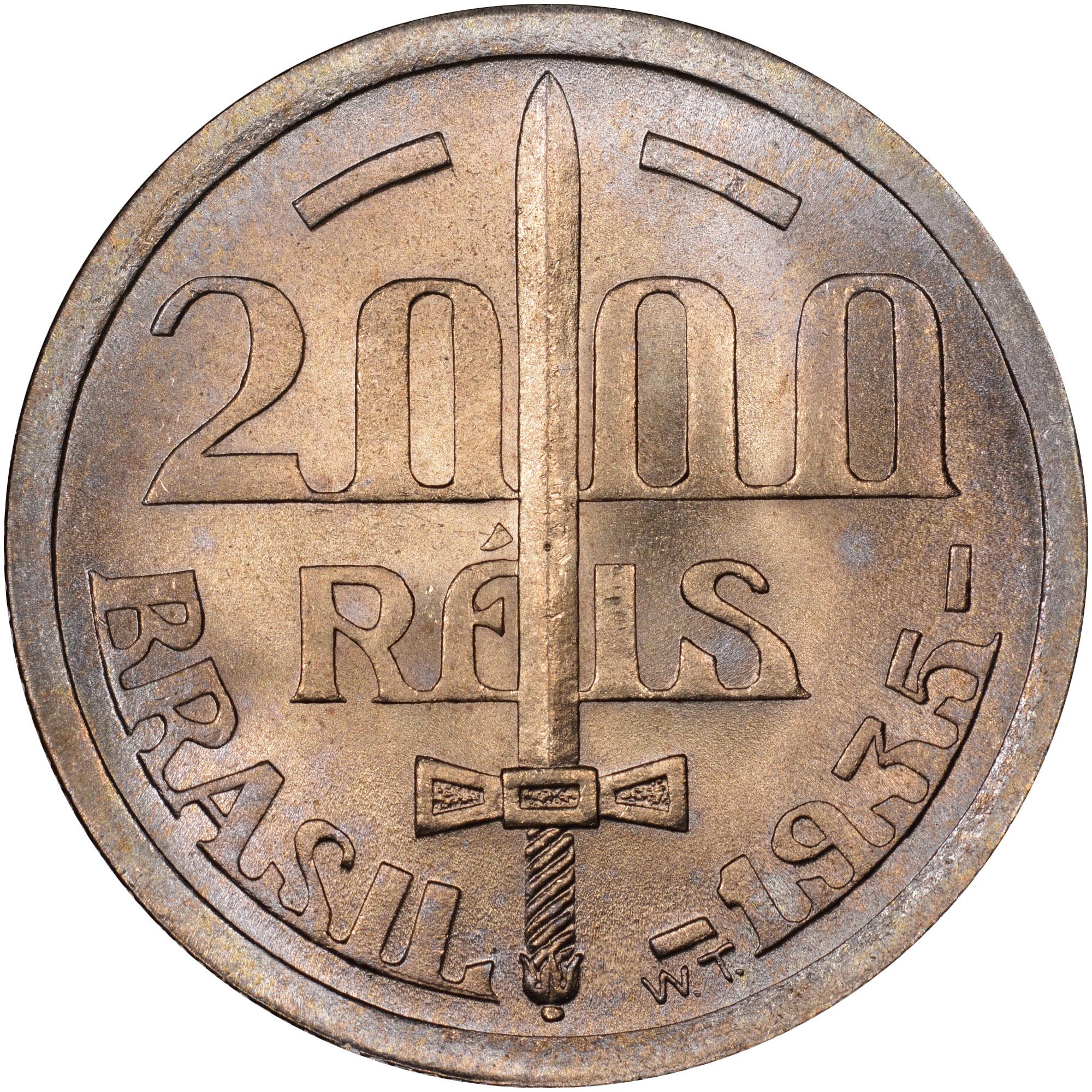 1935 Brazil 2000 Reis reverse