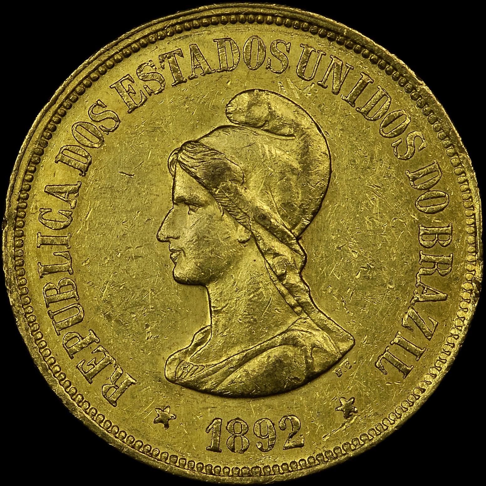 1889-1922 Brazil 20000 Reis obverse