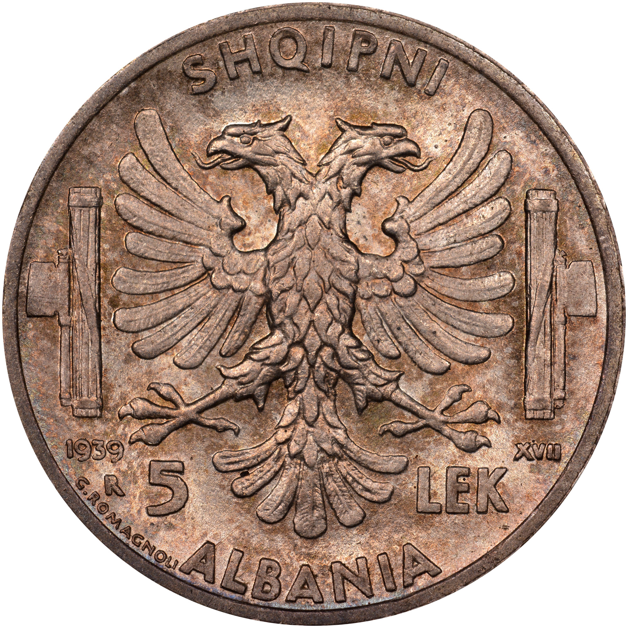 1939 Albania 5 Lek reverse