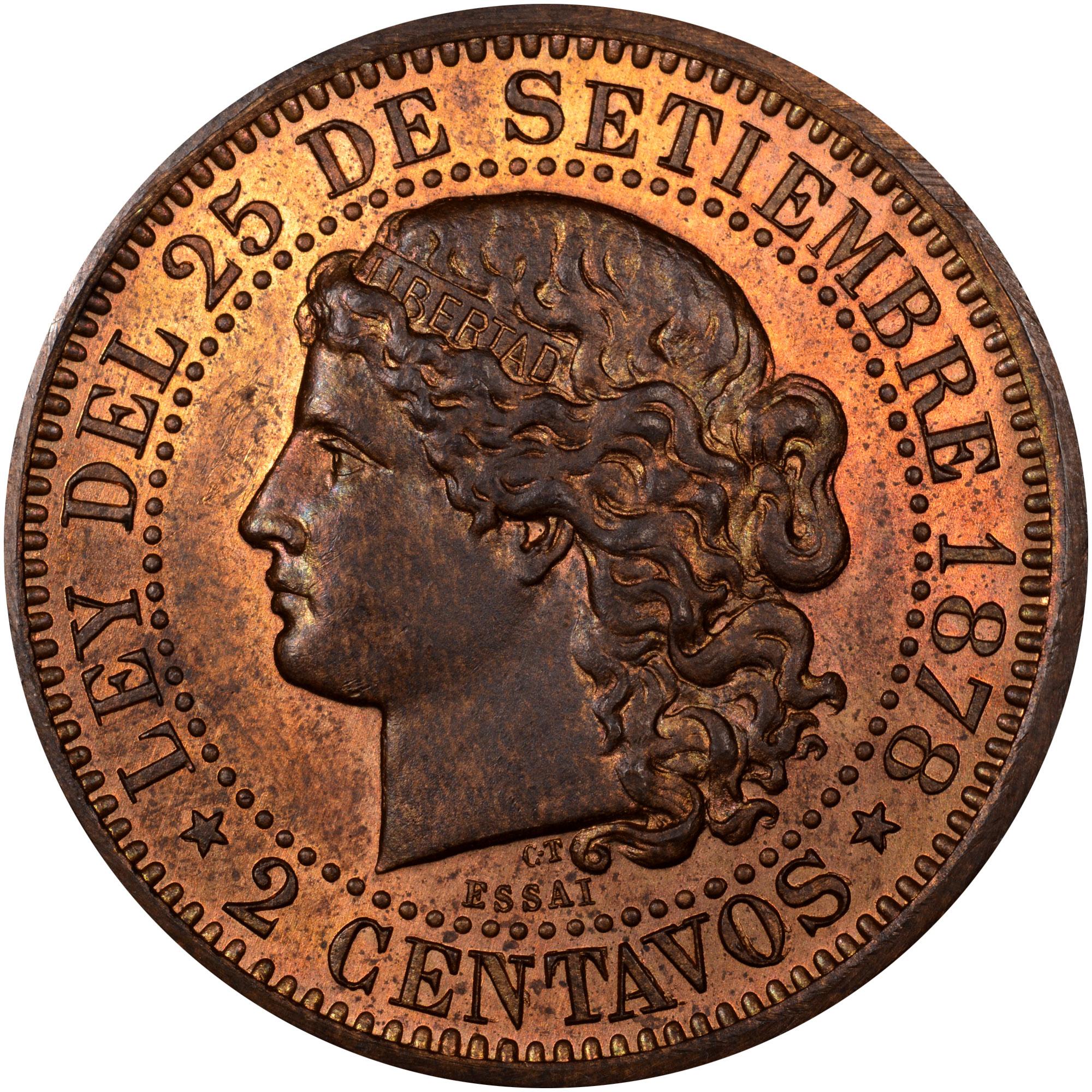 1878 Argentina 2 Centavos reverse