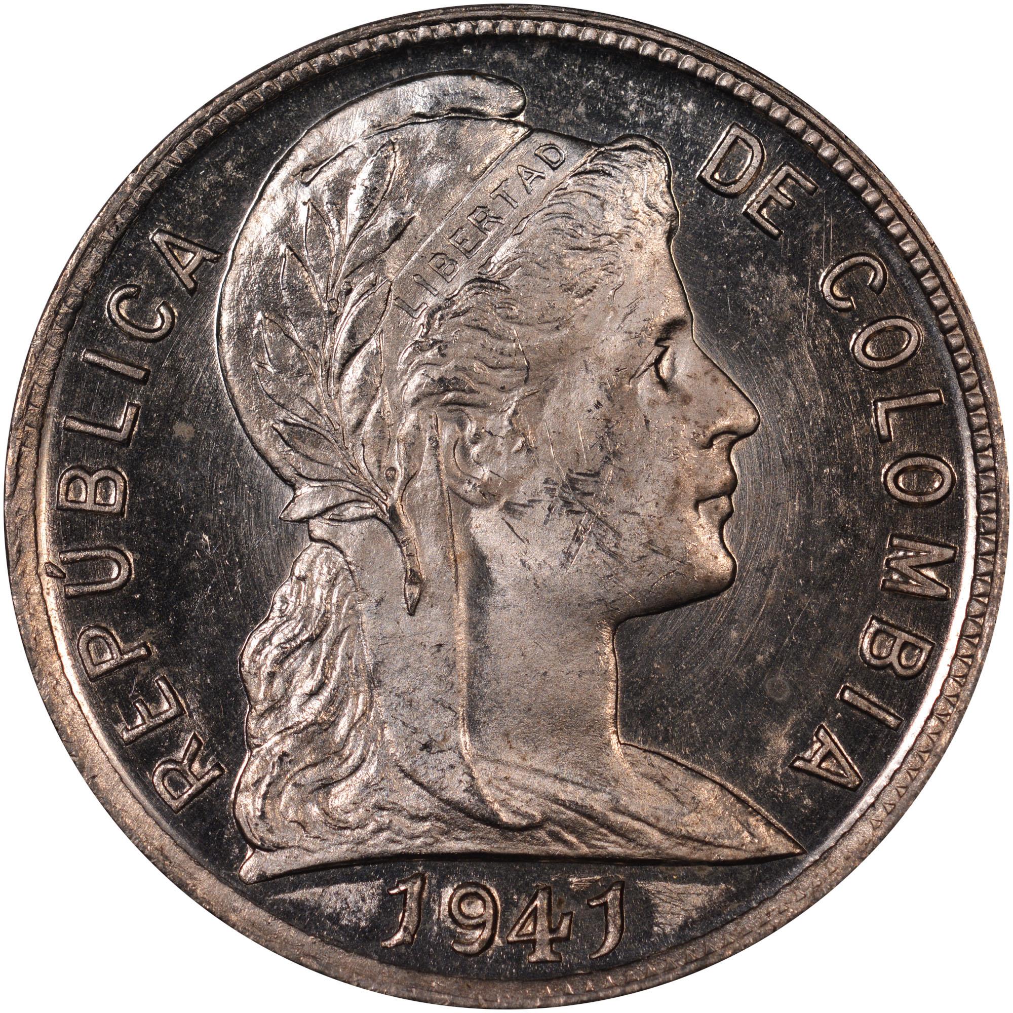 1918-1950 Colombia 5 Centavos obverse