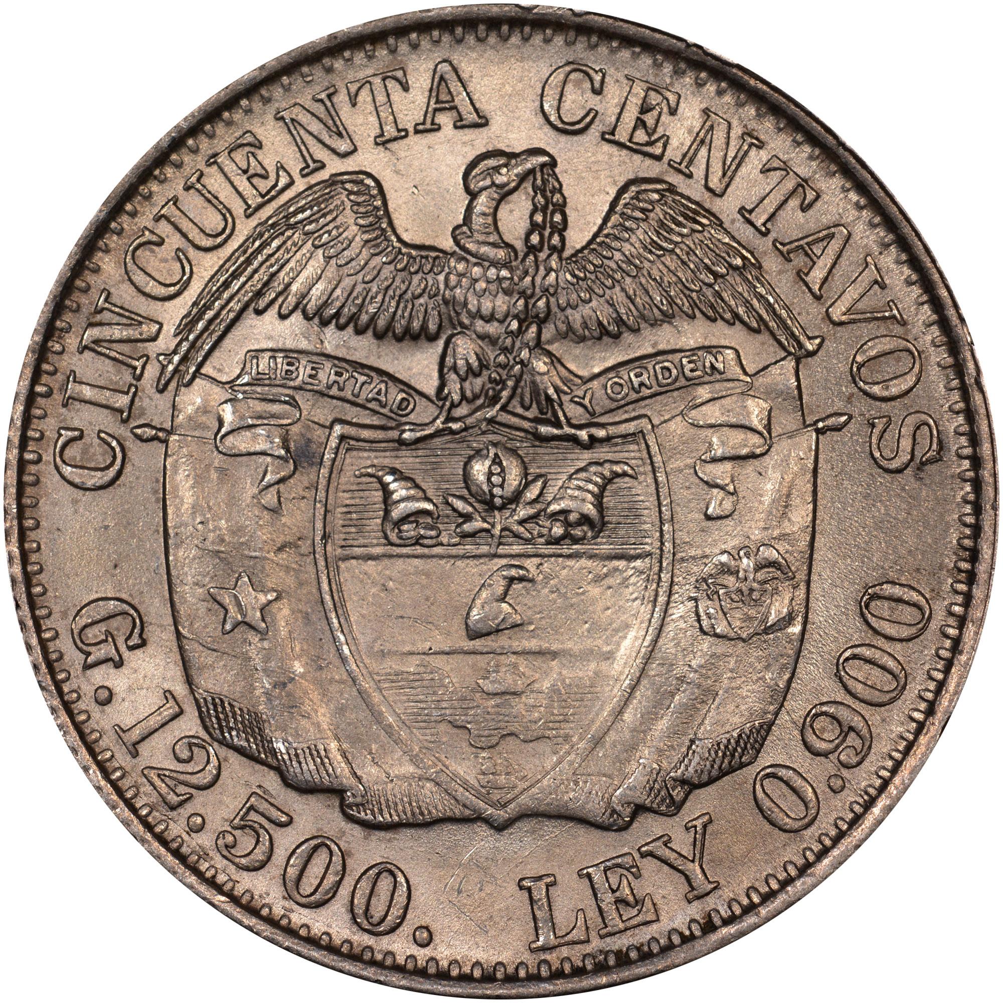 1914-1933/23 Colombia 50 Centavos reverse